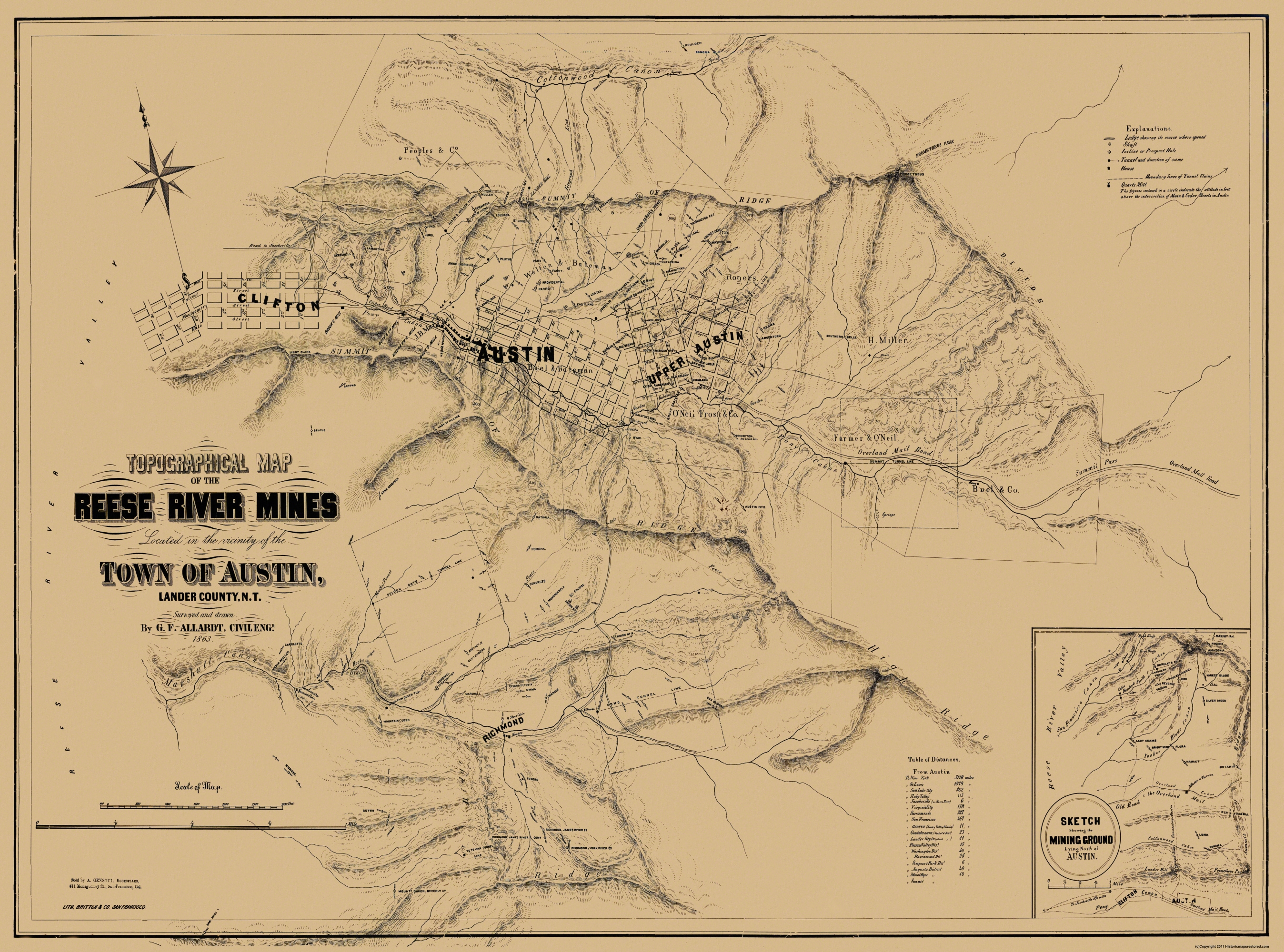 Old Mining Map Reese River Mines Nevada - Us mining map counties