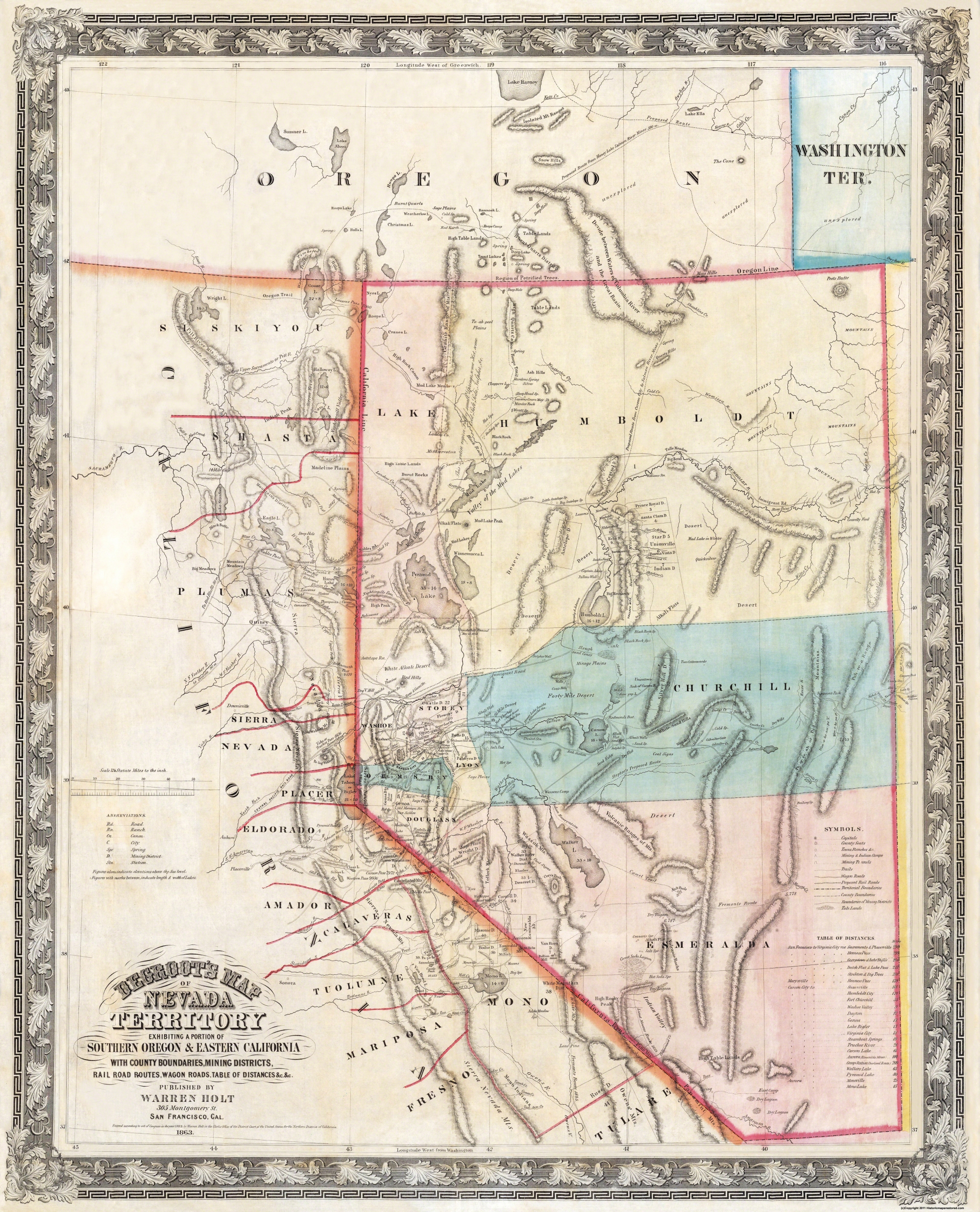 Old State Map Nevada Rand Mcnally 1897