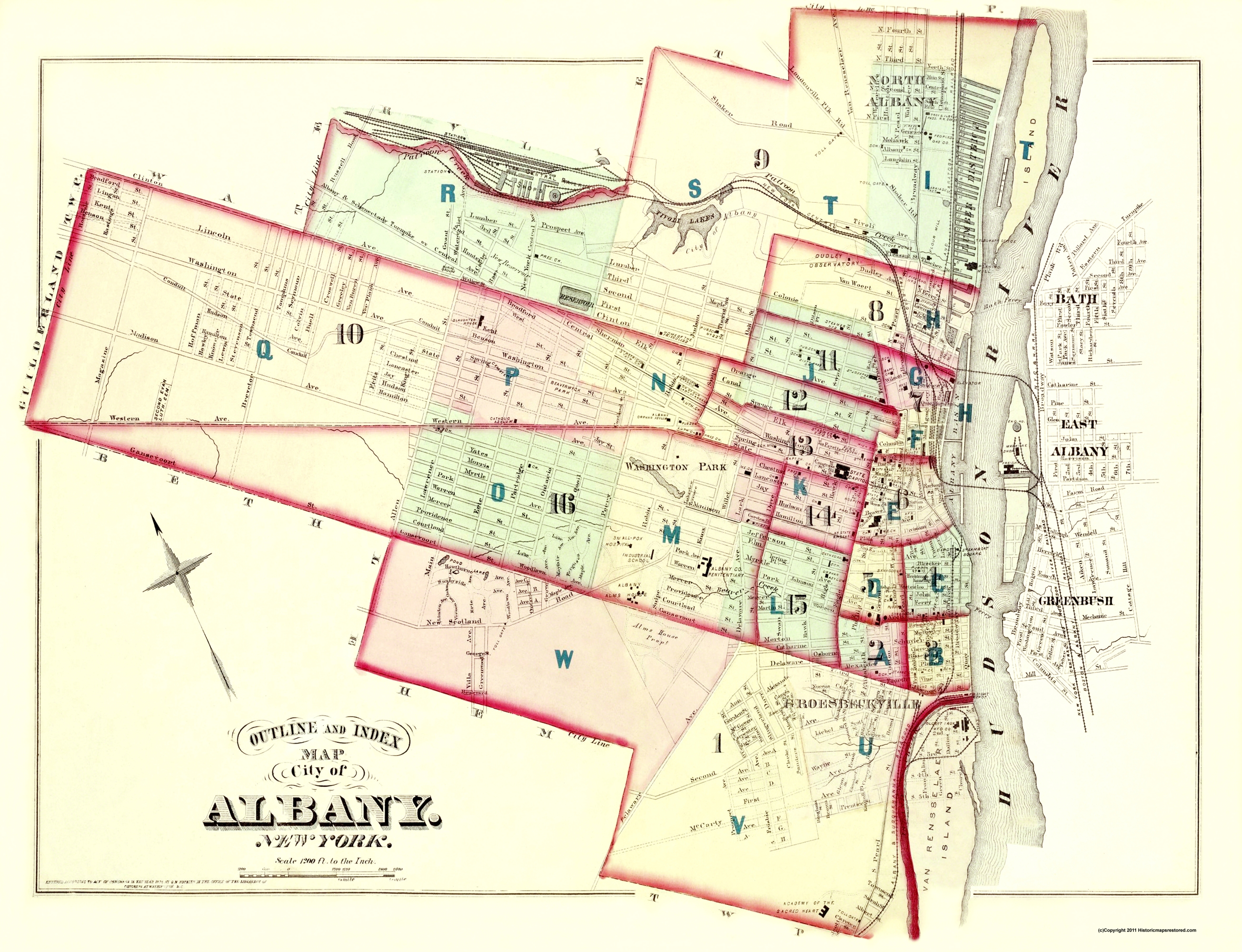 Old City Map - Albany New York Outline and Index - 1876