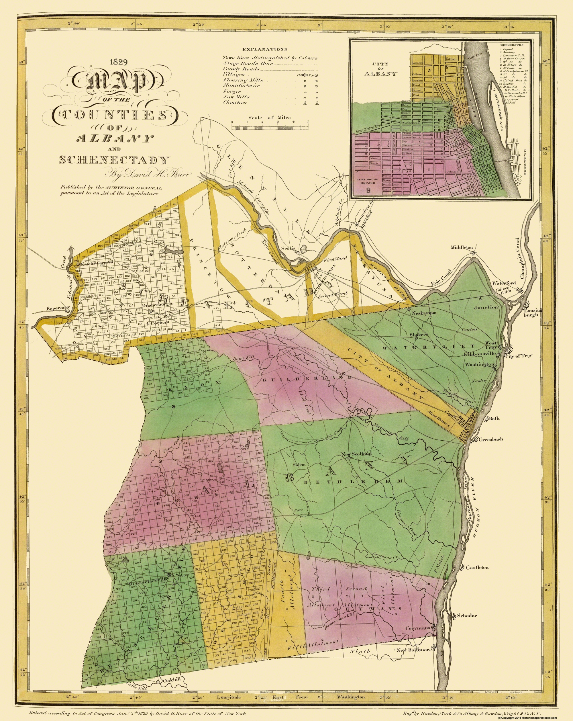 Schenectady New York Map.Old County Map Albany Schenectady New York Burr 1829