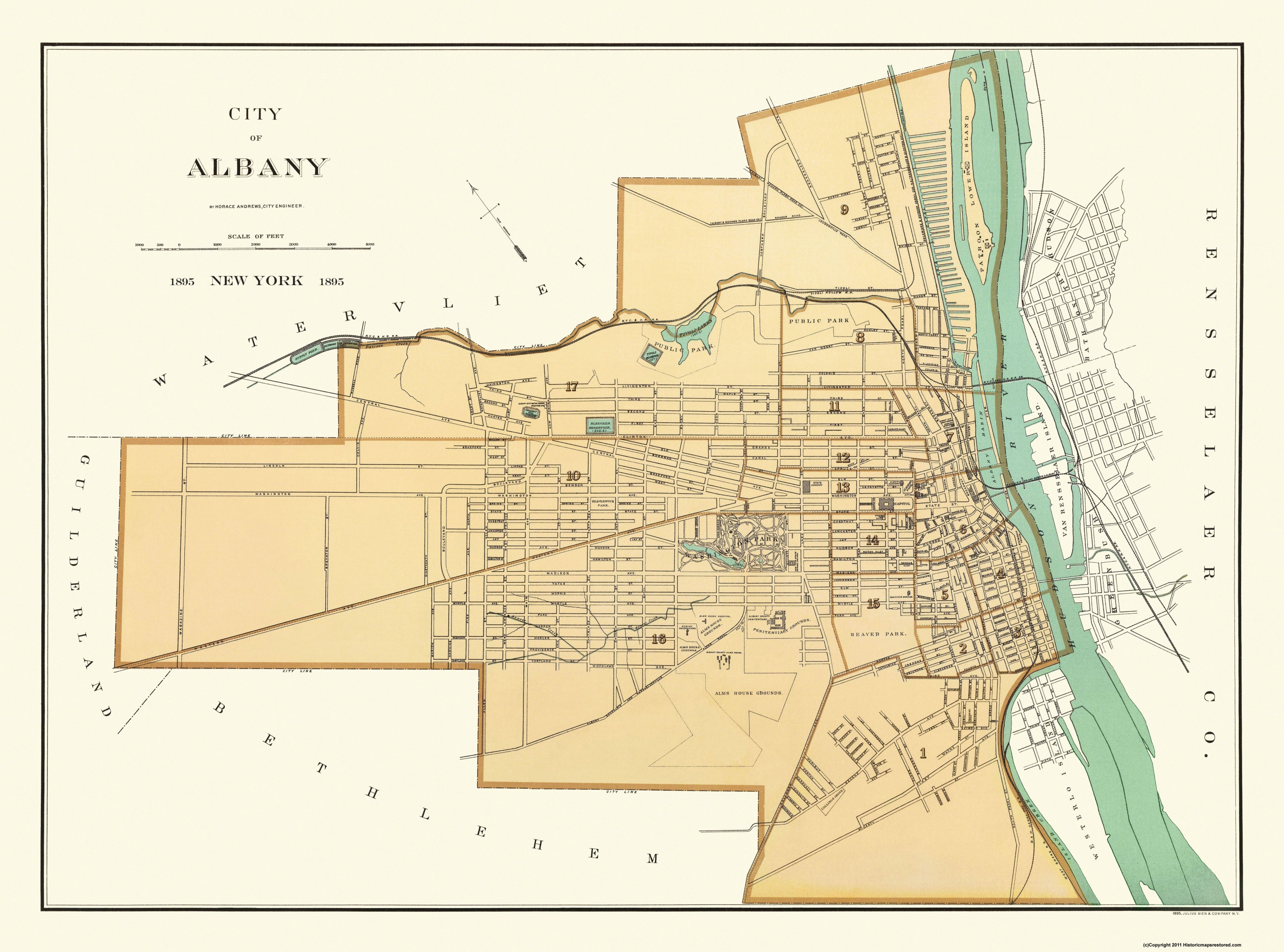 Albany New York - Andrews 1895 - 31 x 23 on map of crabtree, map of foxborough, map of hubbard, map of marylhurst university, map of south west western australia, map of glen echo, map of oregon, map of crandall, map of girard, map of spencerport, map of browns island, map of buffalo, map of brookings, map of new york state, map of crane, map of otto, map of dormansville, map of woodbourne, map of new york city, map of georgia,