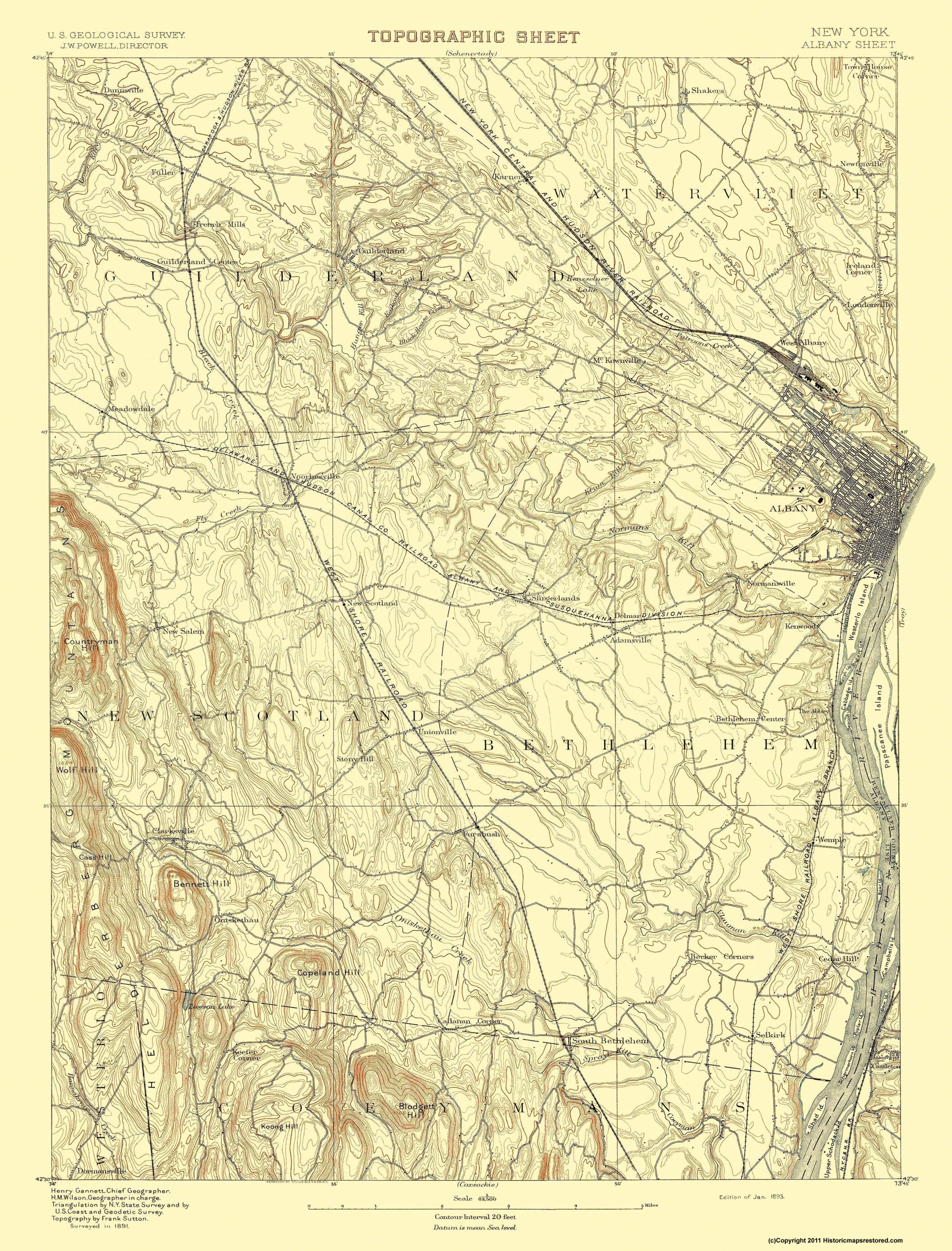 Old Topographical Map Albany New York - Nyc map topographic