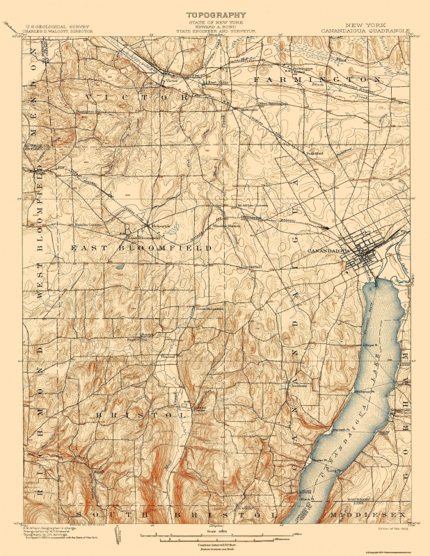 Topographical Map Print - Canandaigua New York - USGS 1903 - 17 x 22
