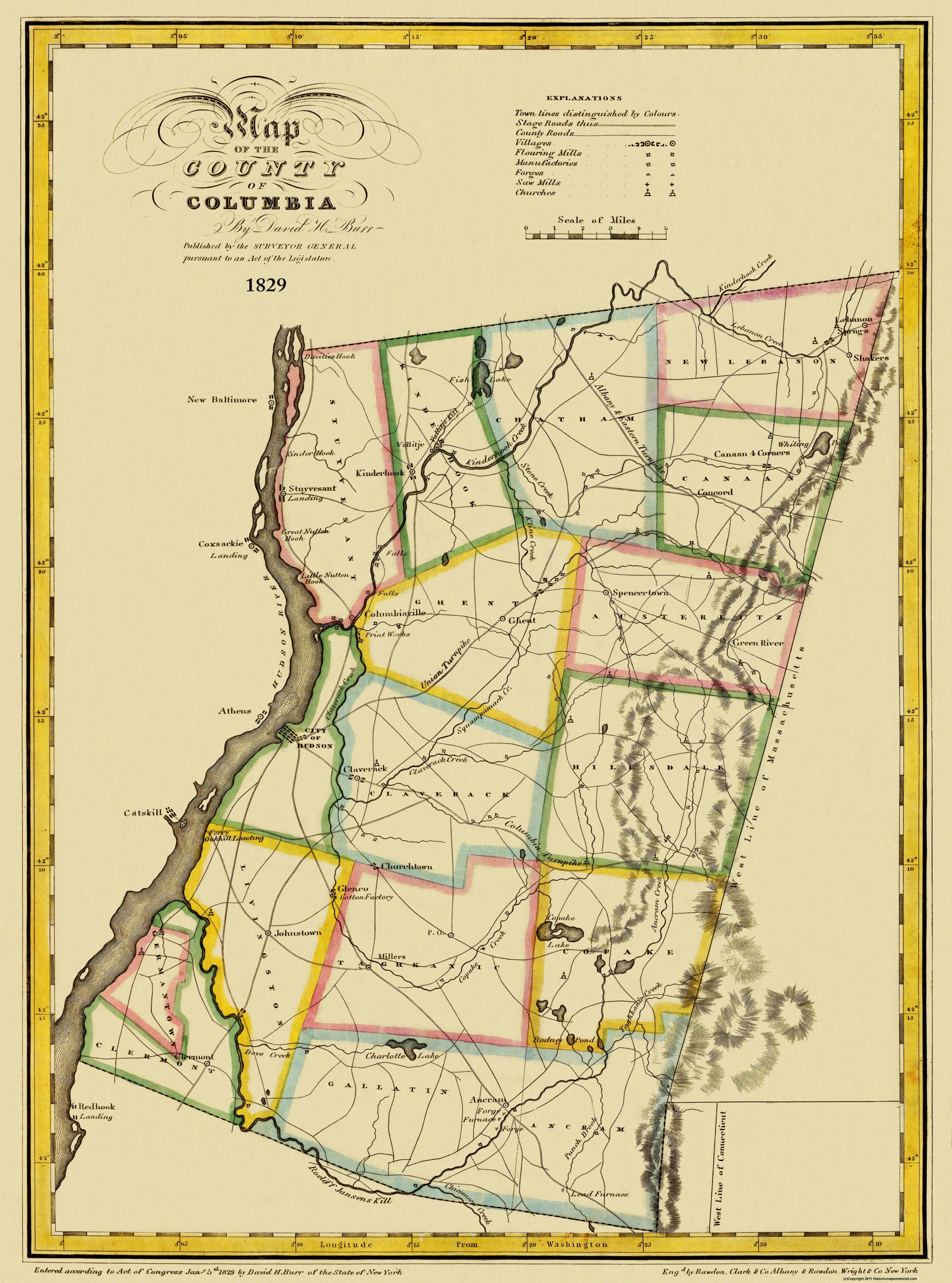 Old County Map Columbia New York Burr - 1829 us map