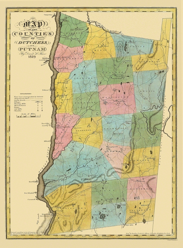 Old County Map - Dutchess, Putnam New York - Burr 1829 - 23 x 31 on litchfield county ct map, cortland county map, greene county map, fairfield county map, town of poughkeepsie map, new castle county map, johnson county map, new york map, westchester county map, brooklyn map, rockland county map, fayette county map, dutchess new york, suffolk county map, schenectady county map, kauai county map, columbia county map, lincoln county map, ny map, orange county map,