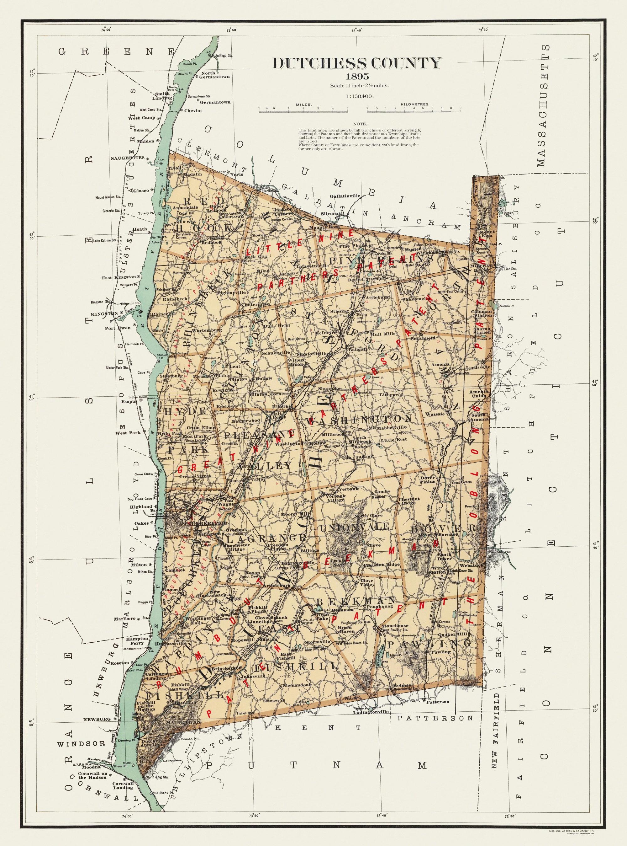 Old County Map - Dutchess New York Landowner - 1895