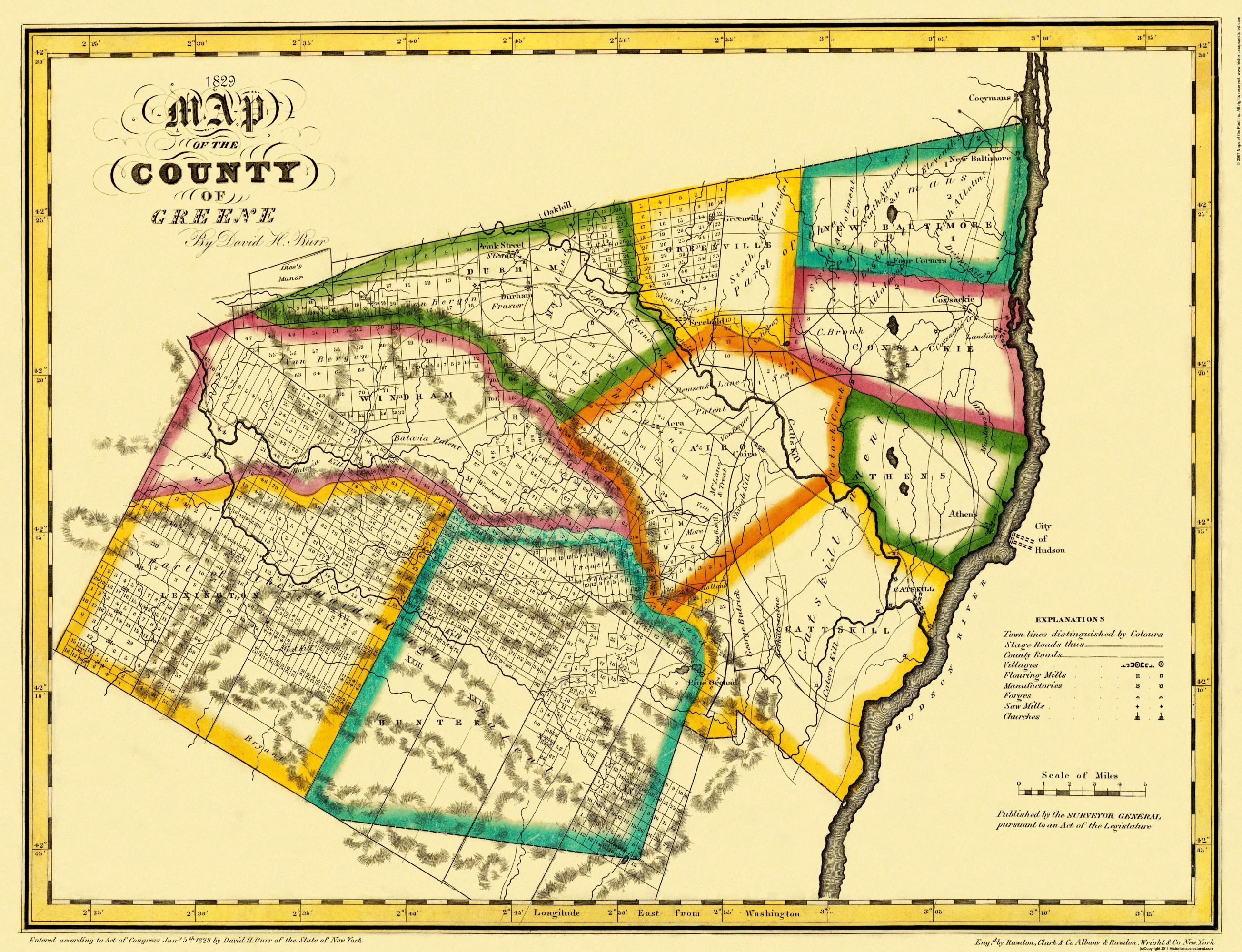 Old County Map Greene New York Landowner Burr - New york map hudson river