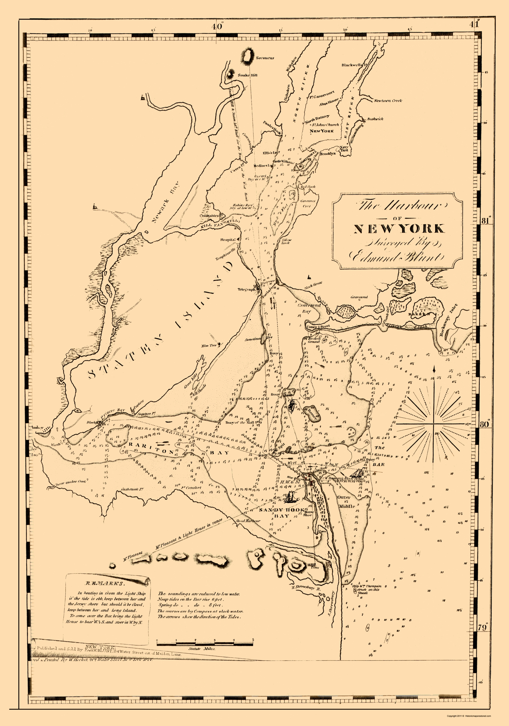 Map Of New York Harbour.Old Travel Map New York Harbor Blunt 1827 23 X 32 78