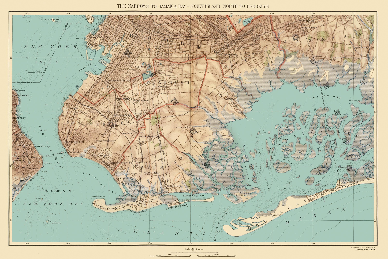 1890 World Map.Old Map Jamaica Bay Coney Island Brooklyn New York