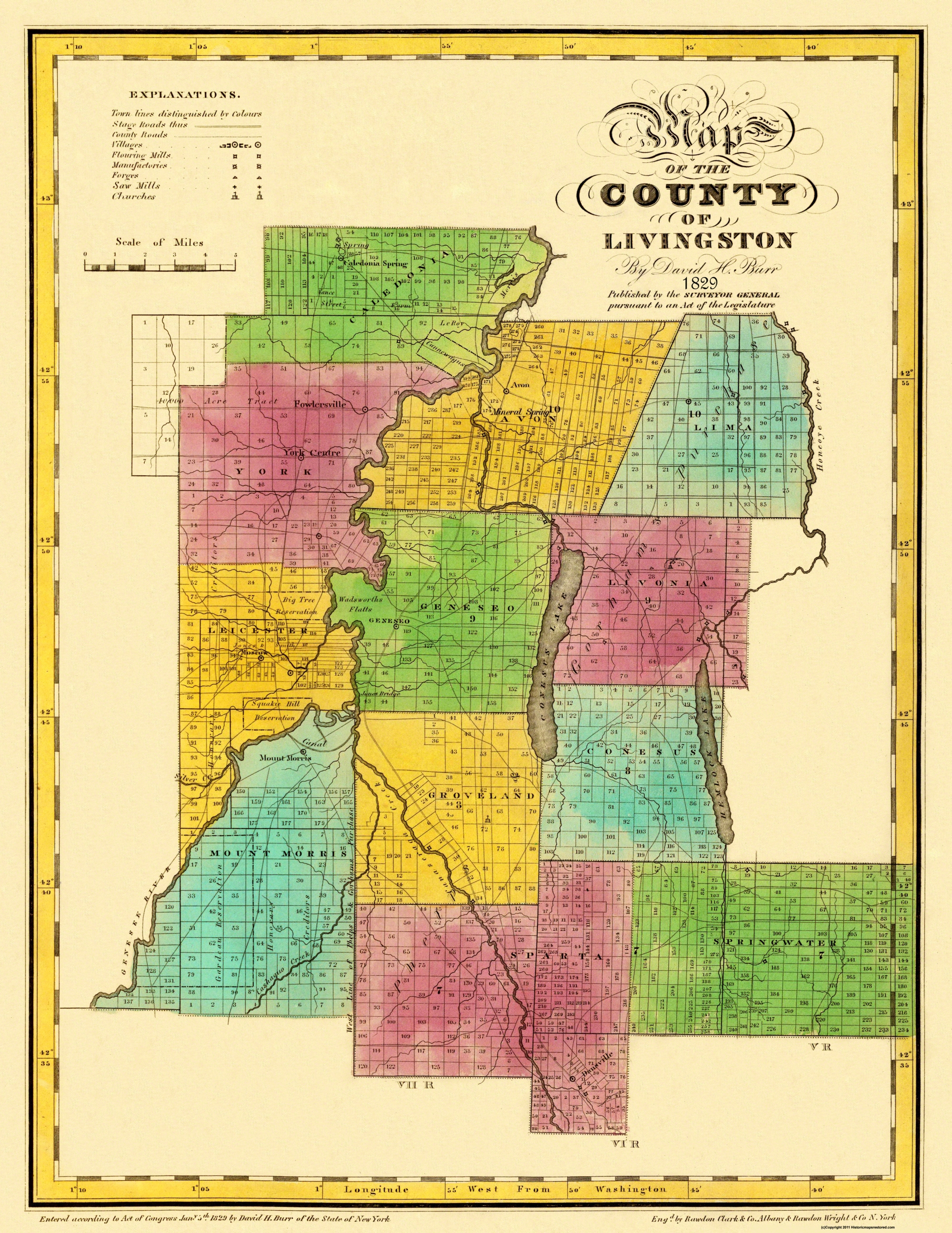 New york livingston county leicester - Honeoye Creek Conesus Lake Genesee River Churches And Schools Located Some Named Landowners Caledonia Spring New York United States