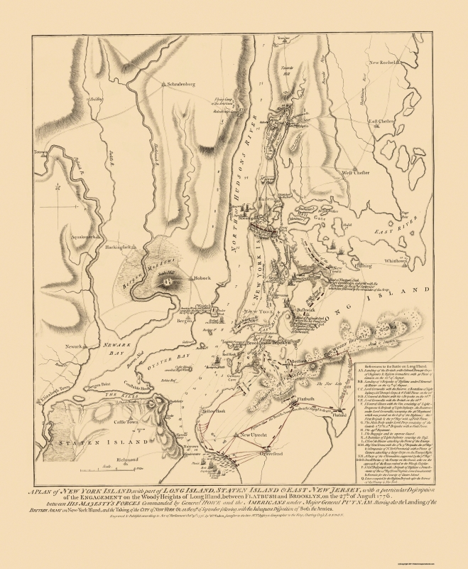 Map Of New York 1776.Old Revolutionary War Map Battle Of Long Island 1776 23 X 27 93