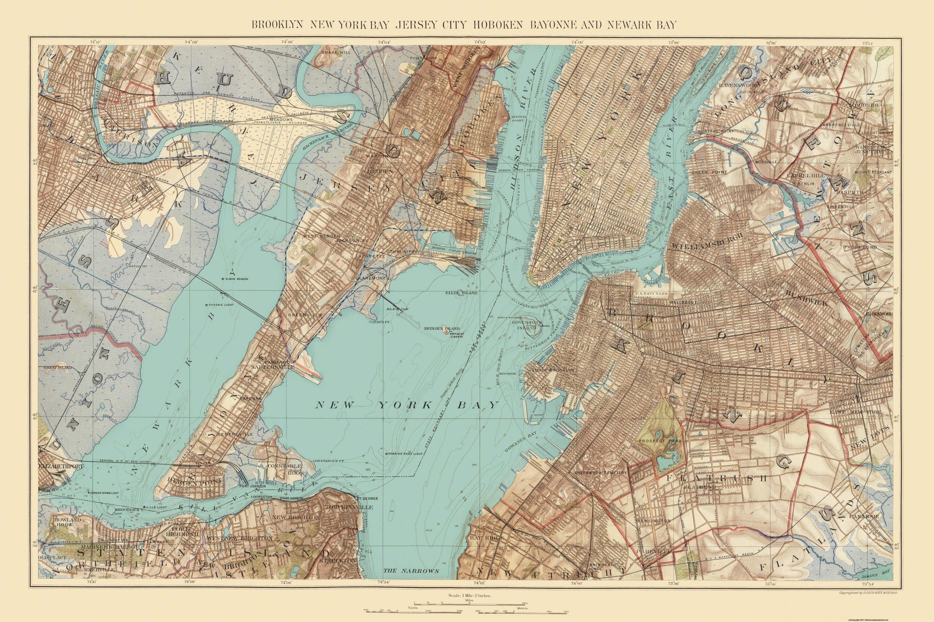 Old Map Of New York.Jersey City Hoboken New York Bay New Jersey Bien 1890 34 5 X 23