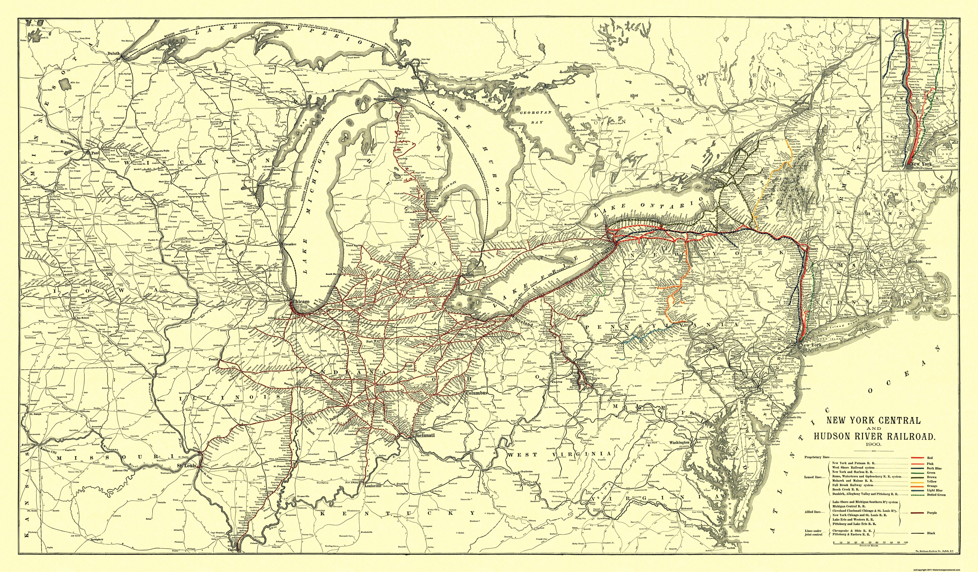 Old Railroad Map New York Central Hudson River 1900