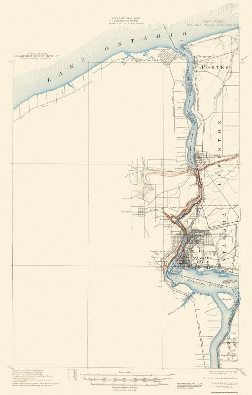 Topographical Map Print Niagara Falls New York Quad Usgs 1901 14 05 X 22