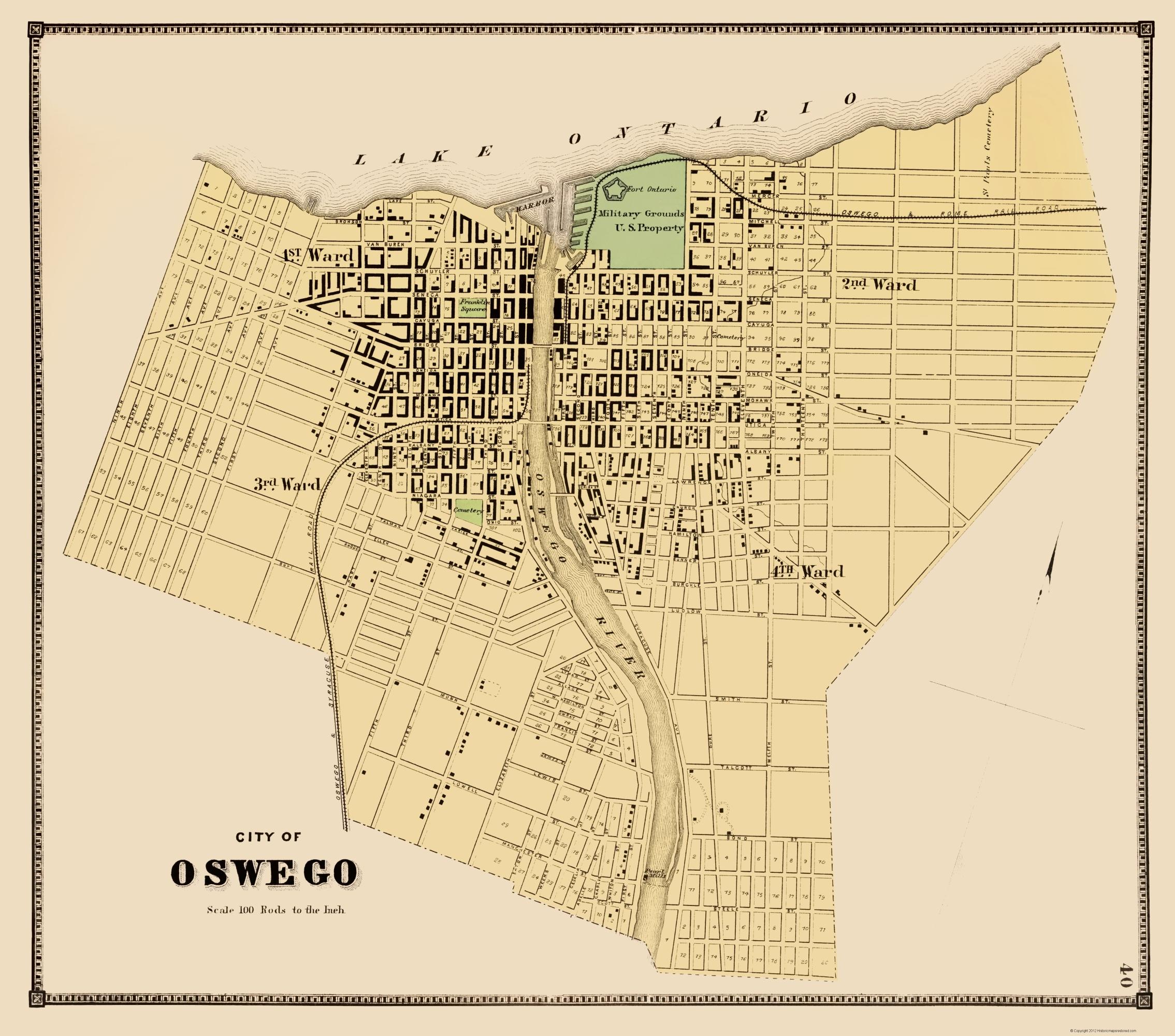Map Of New York Oswego.Oswego New York Plat Stone 1866 23 X 26 09