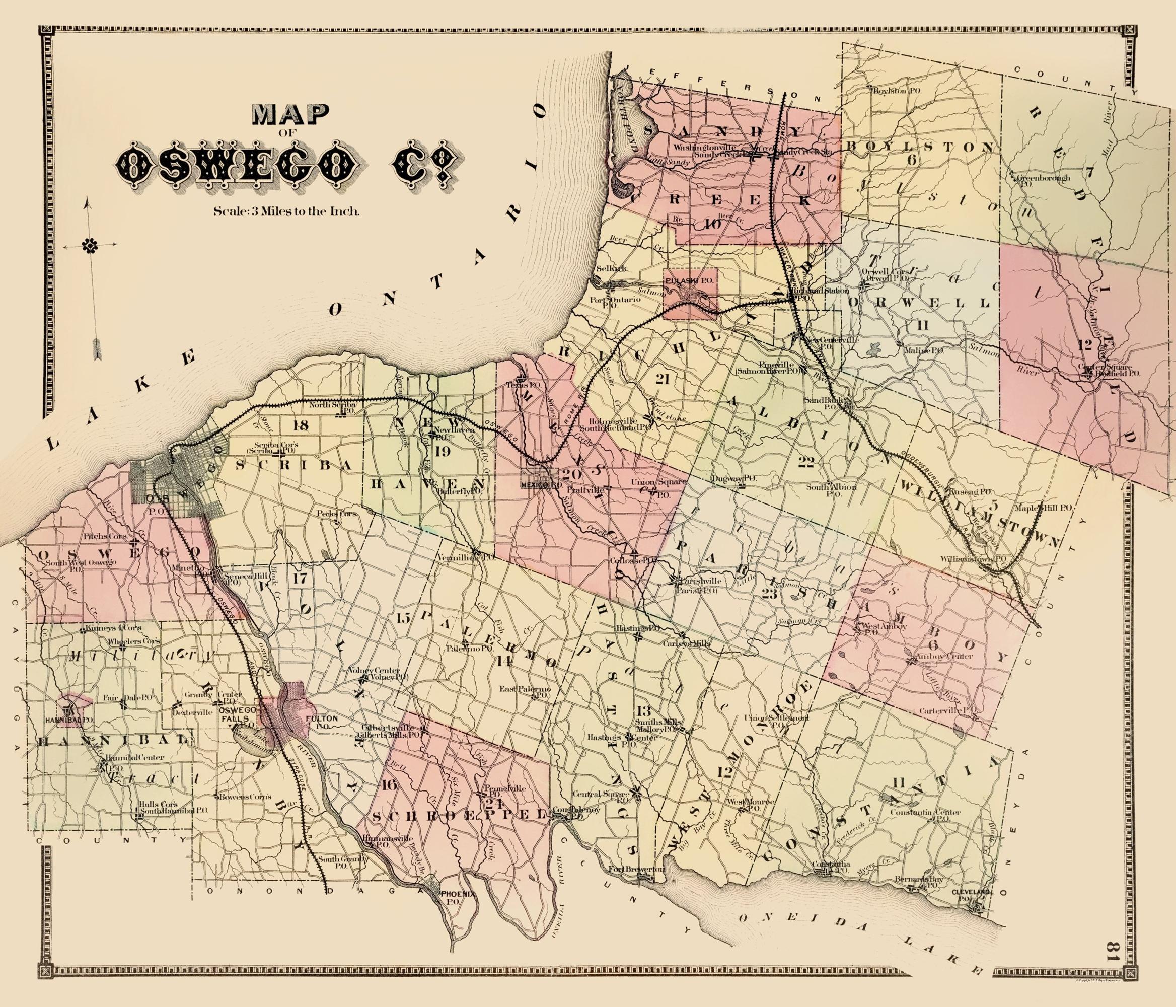 Map Of New York Oswego.Old County Map Oswego New York Stone 1866 23 X 26 86