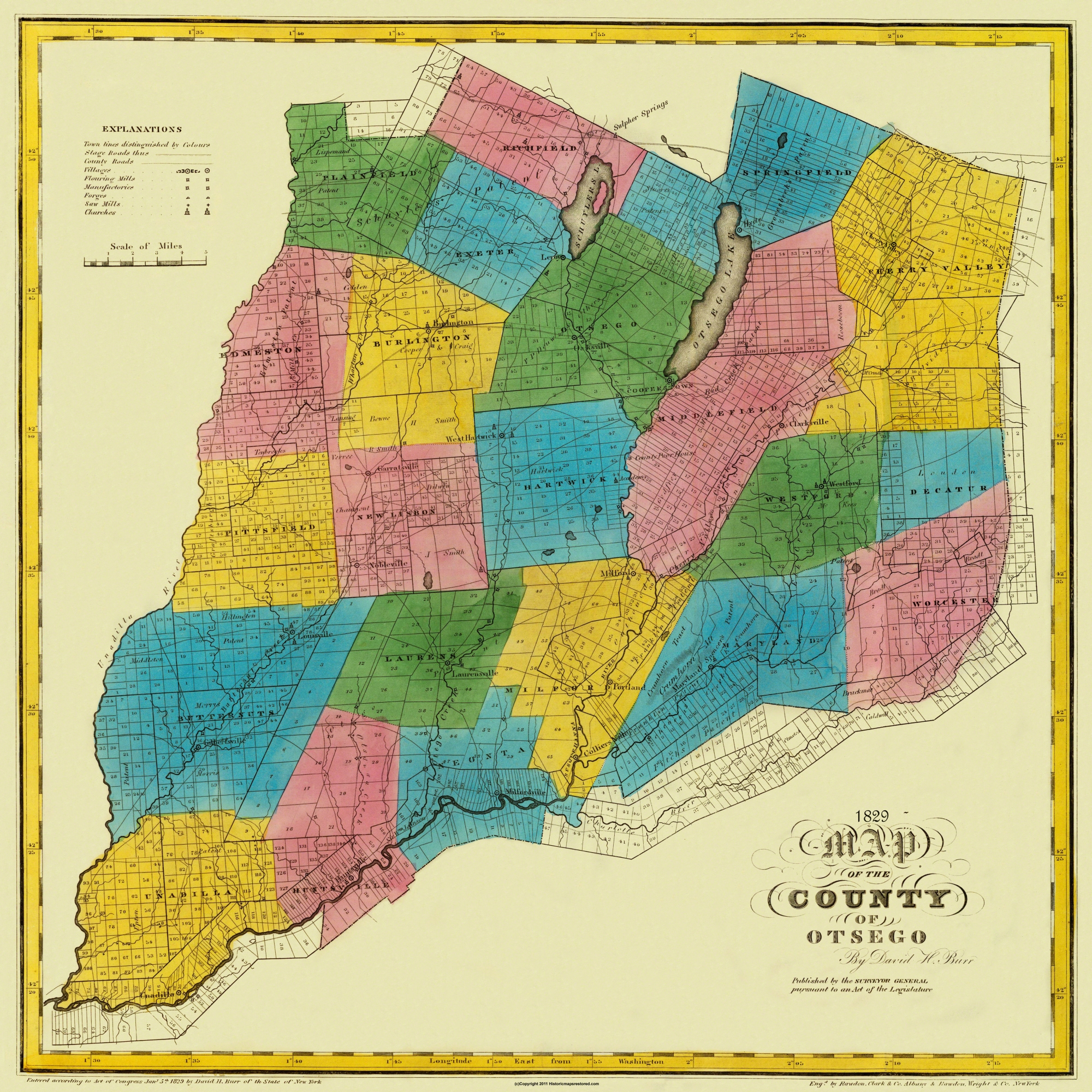 Old County Map Otsego New York Landowner Burr - 1829 us map