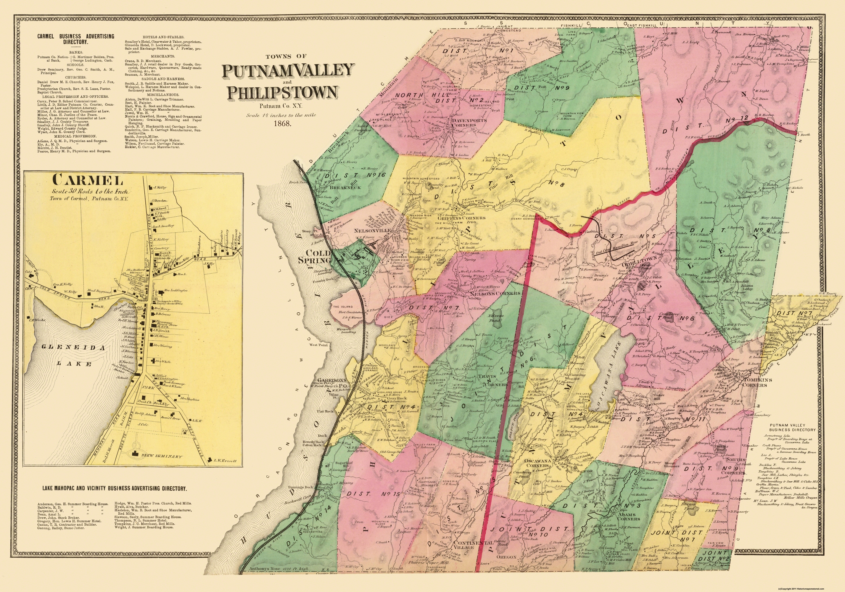 Old City Map - Putnum Valley, Phillipstown New York 1868 City Map Of Ny on