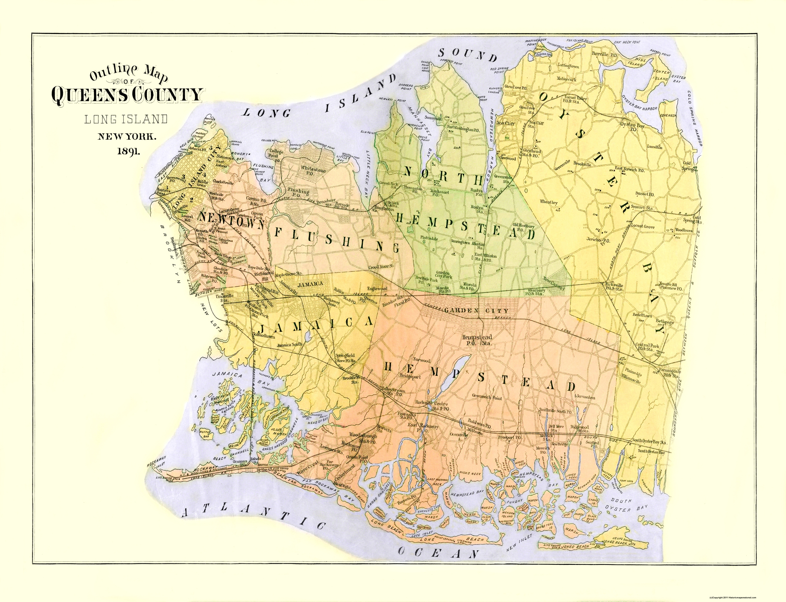 Old County Map - Queens New York - 1891 - 30 x 23 on