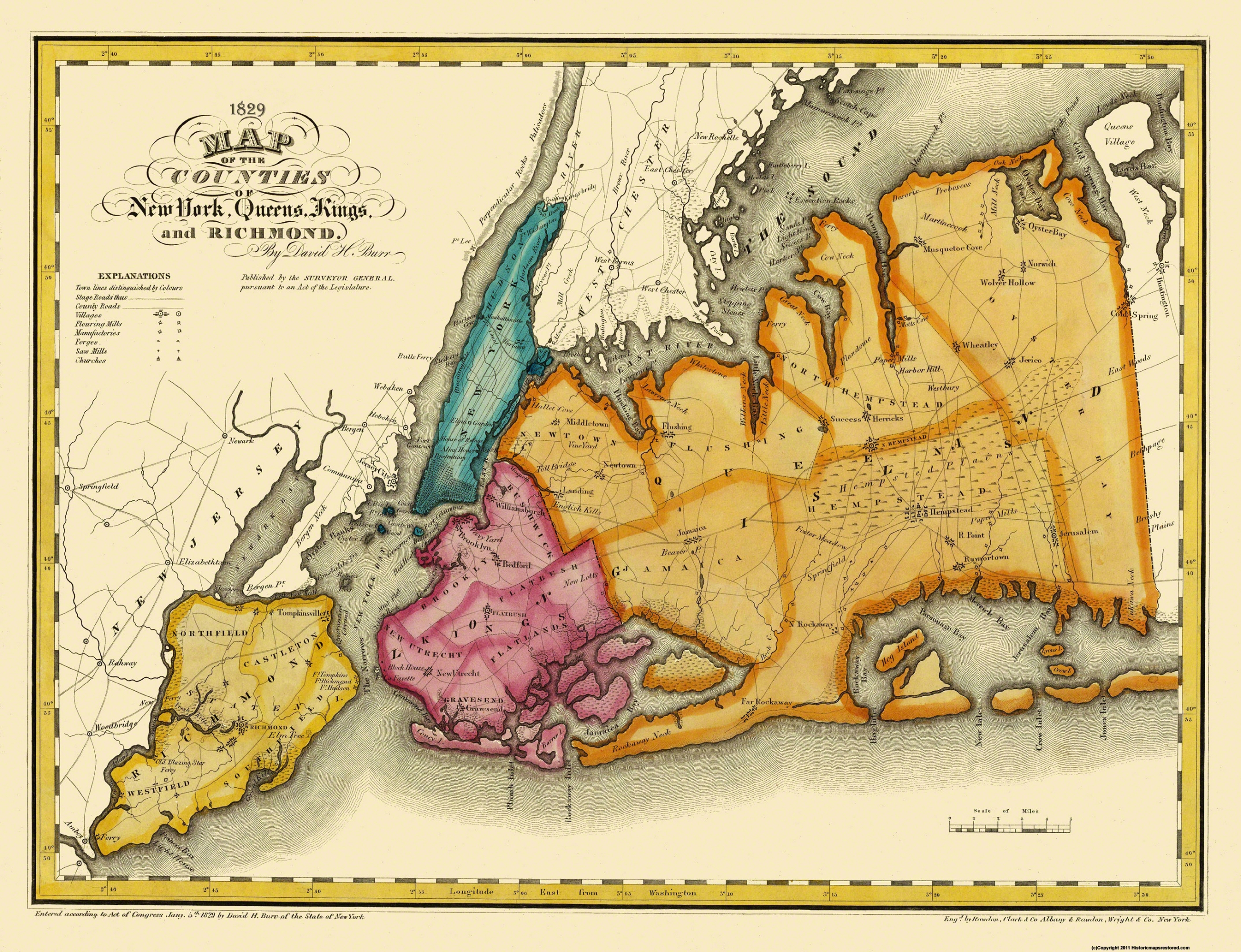 Old Map New York Queens Kings Richmond New York - 1829 us map