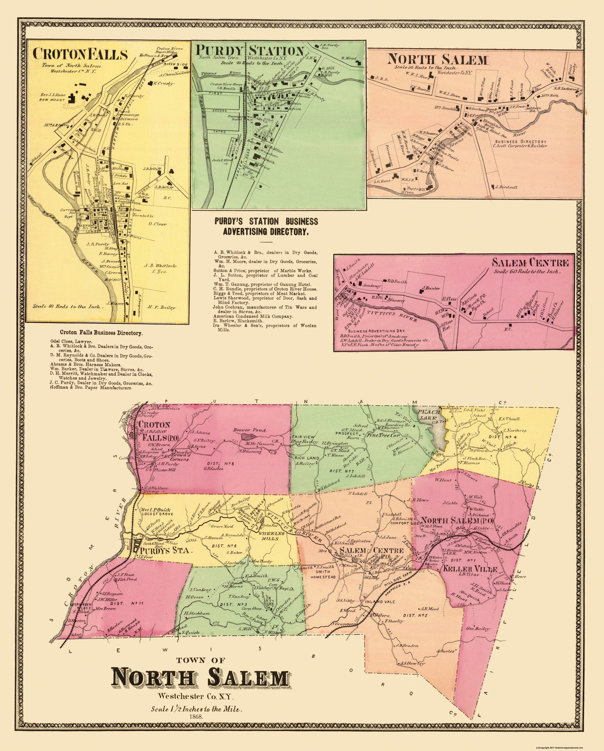 Salem New York Map.Old City Map North Salem New York Landowner 1868