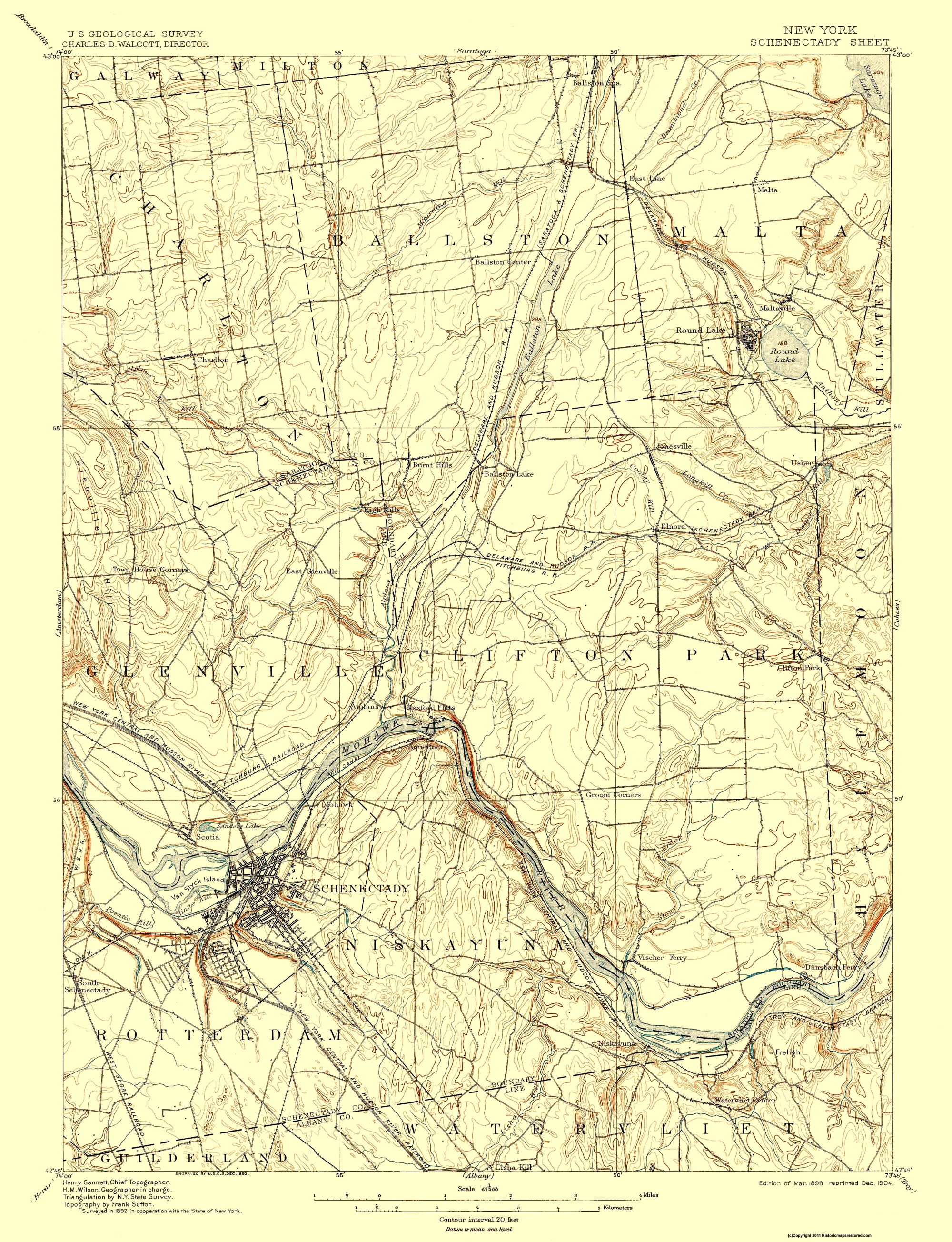 Schenectady New York Map.Old Topographical Map Schenectady New York 1898