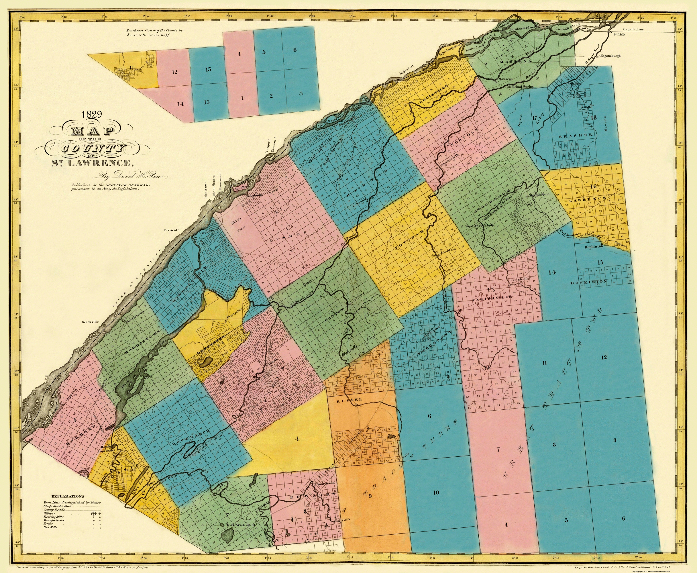 Old county map st lawrence new york burr 1829 double tap to zoom publicscrutiny Choice Image