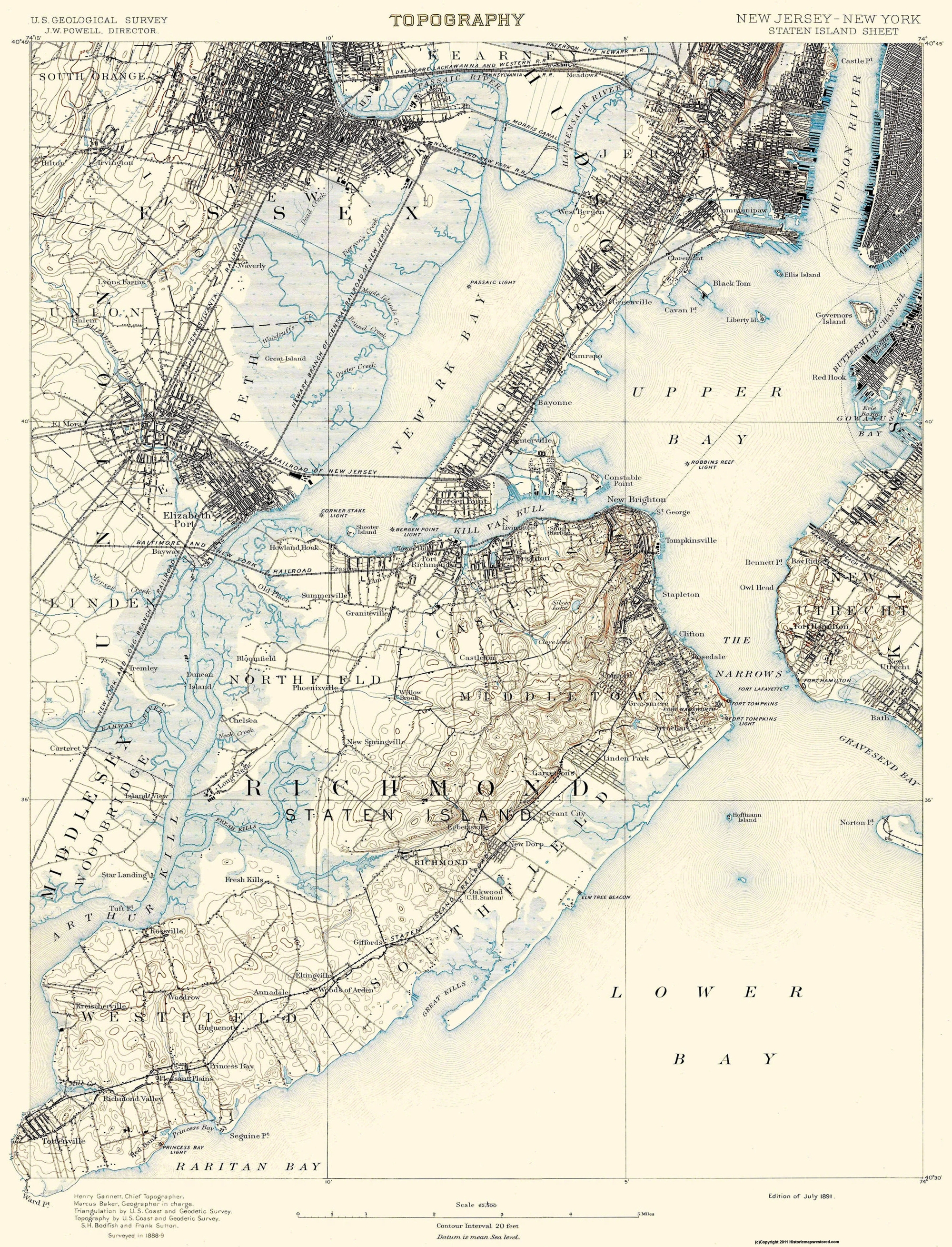 Old Topographical Map   Staten Island New York 1891