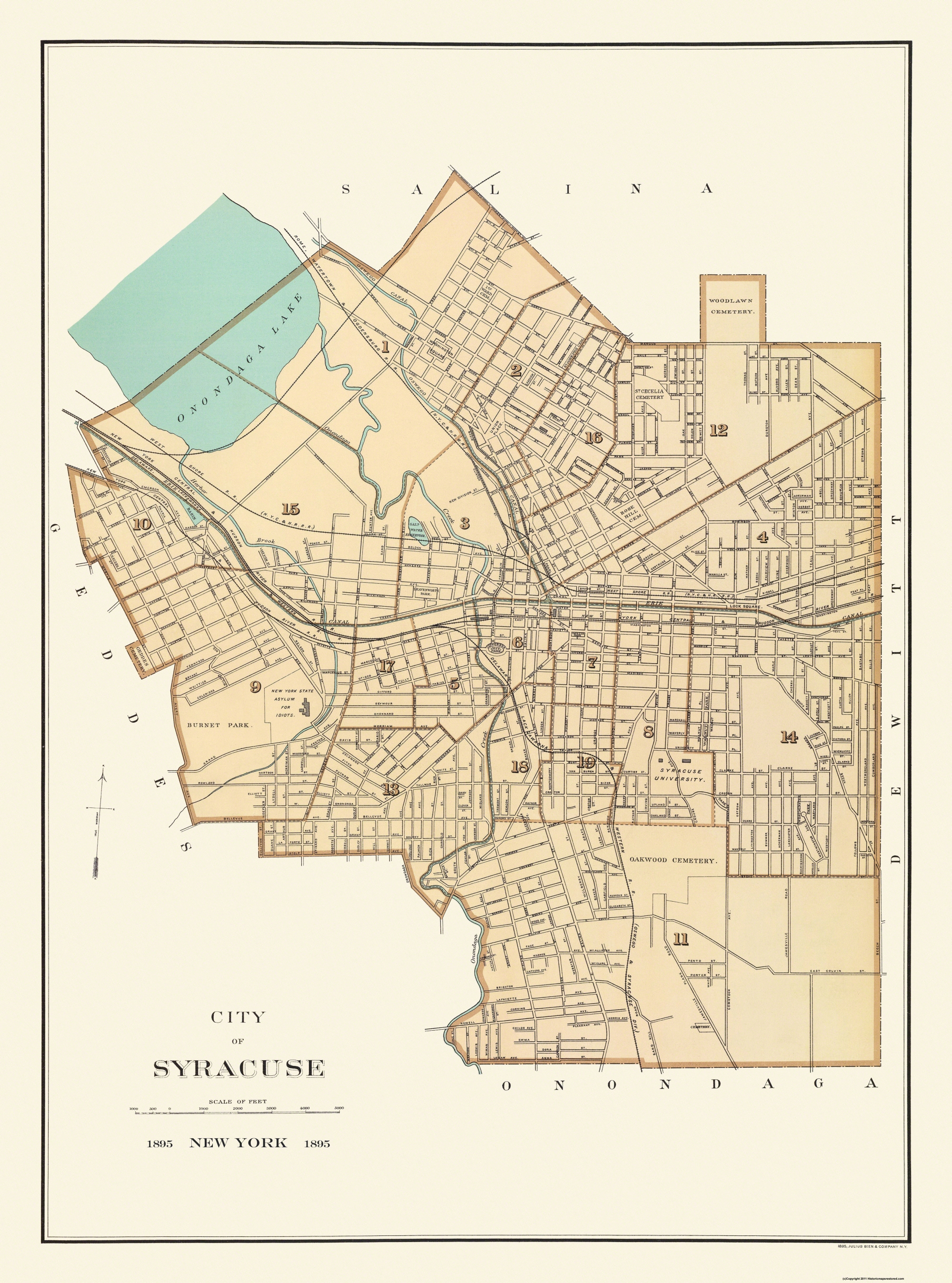 Old City Map Syracuse New York - Nyc map canal street