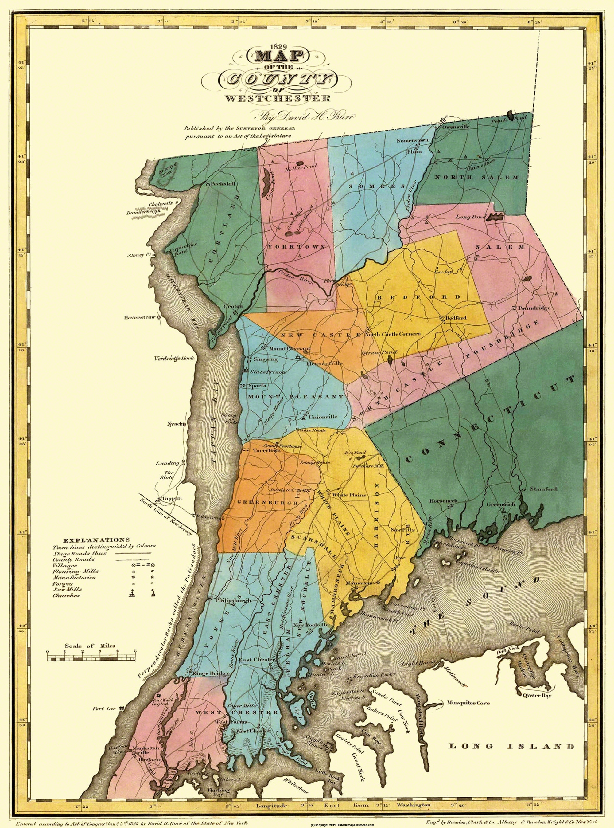 Old County Map Westchester New York Landowner - 1829 us map