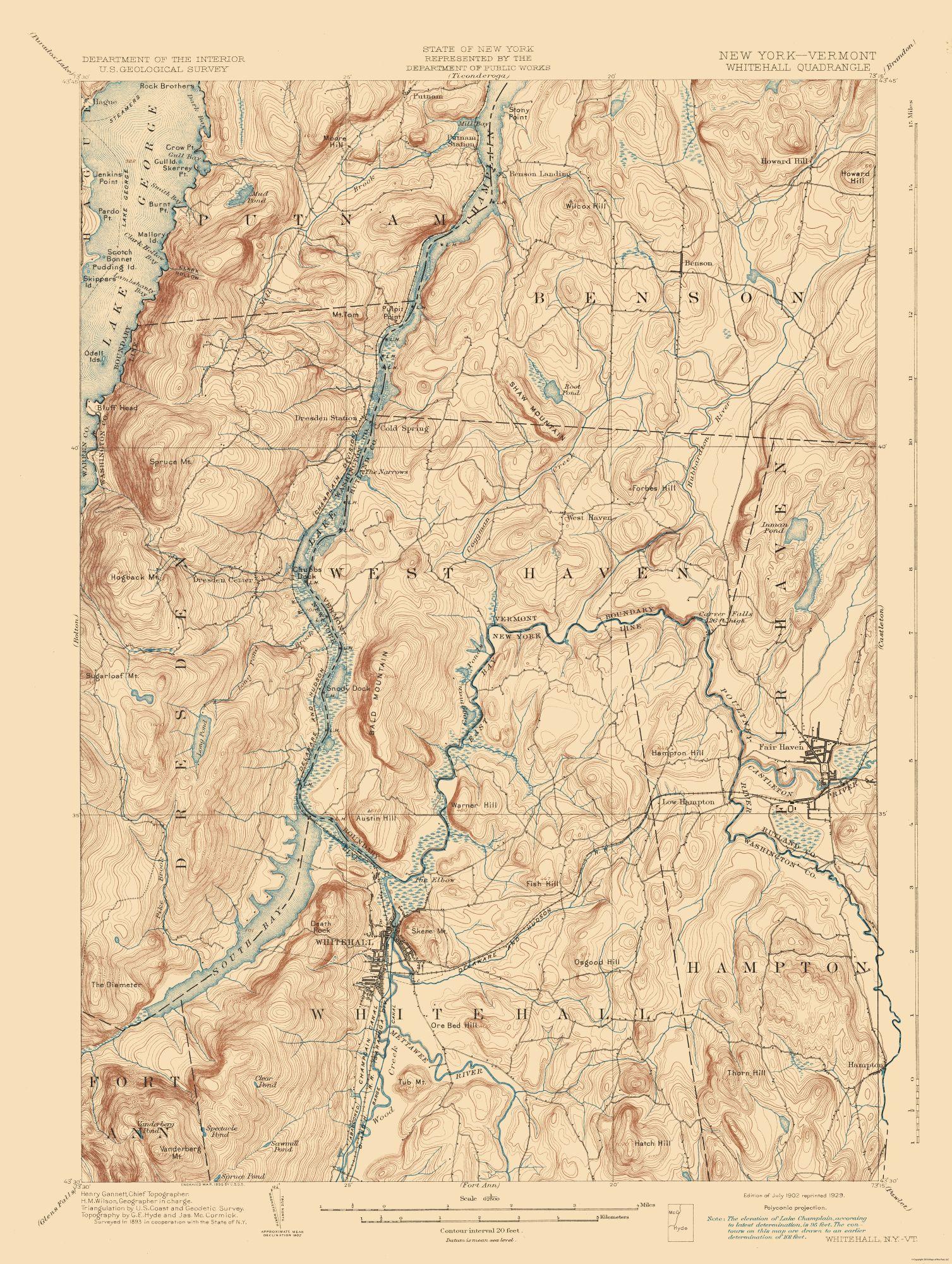 Topographic Map - Whitehall New York Vermont Quad - USGS 1902 - 23 x 30.53