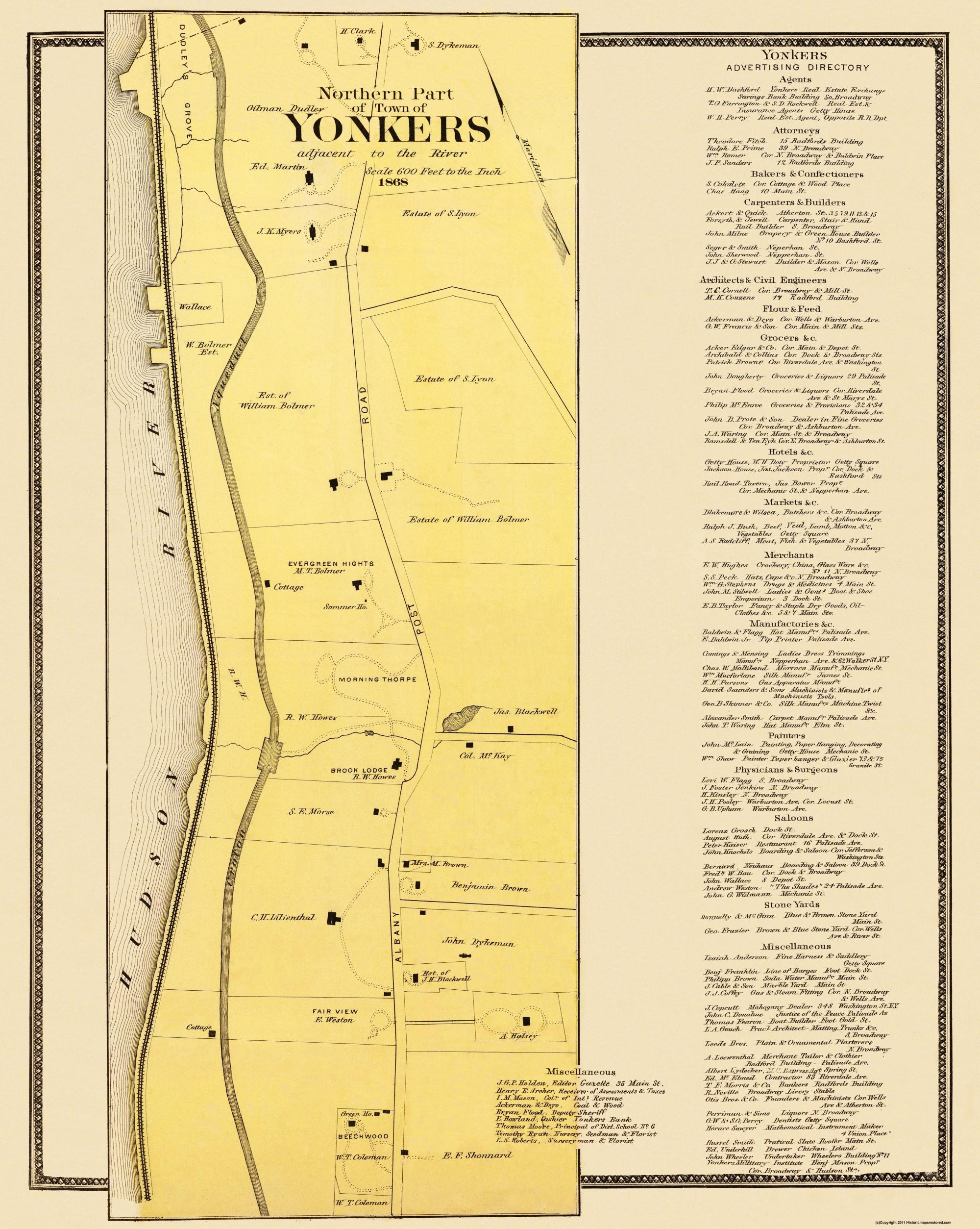 Map Of Northern New York.Yonkers Northern New York Landowner Beers 1868 23 X 28 81