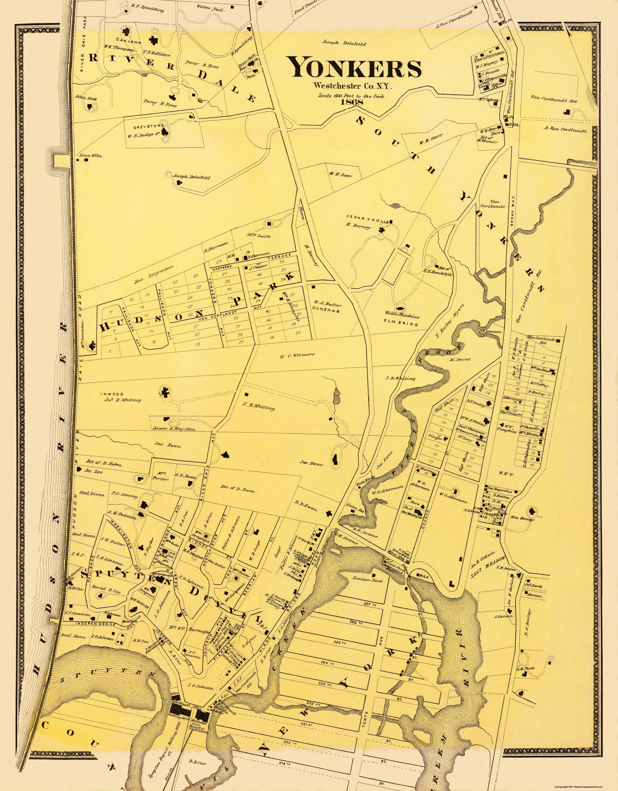 Old City Map - Yonkers, Southern New York Landowner 1868 Map Of Yonkers Ny on