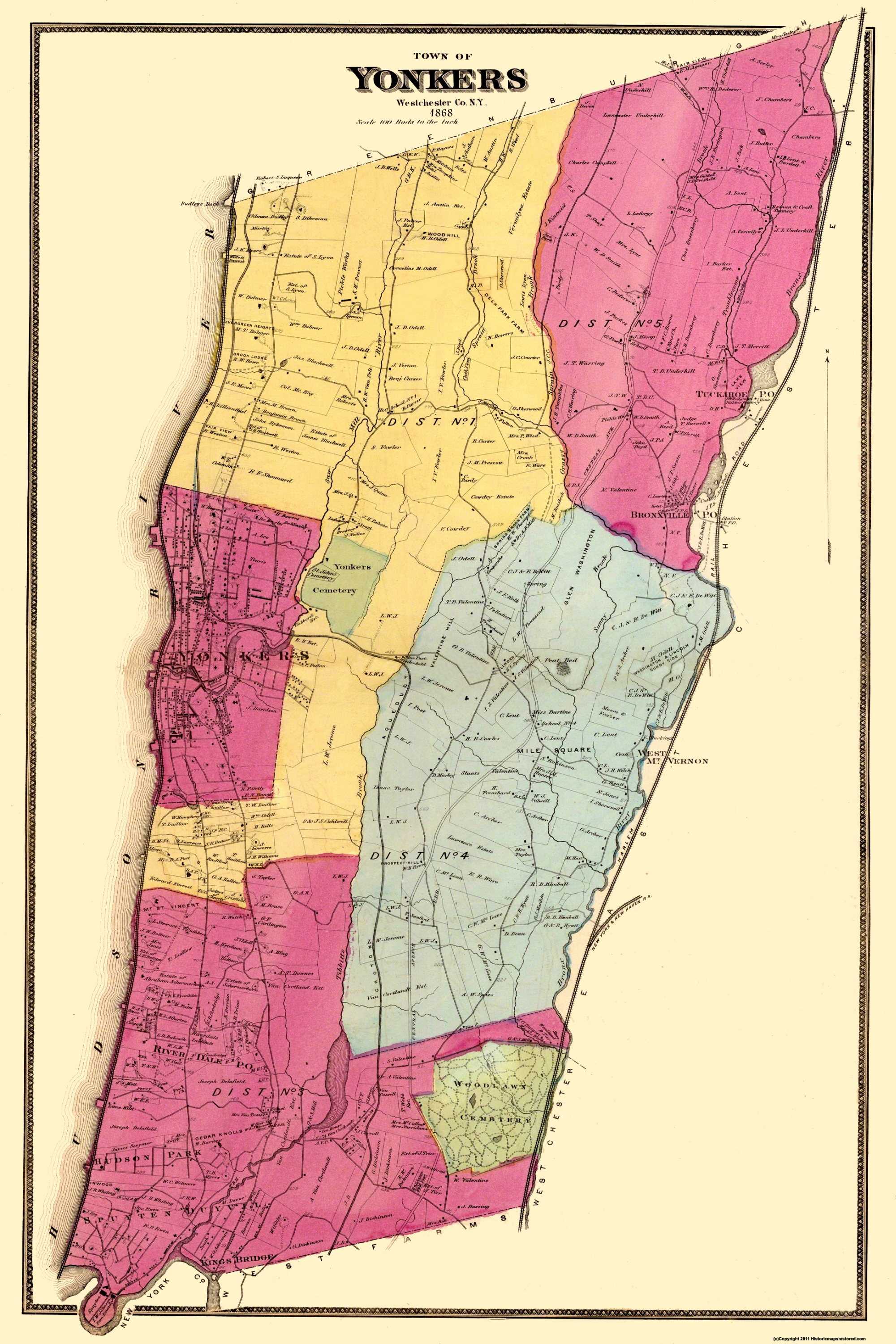 Old City Map - Yonkers New York Landowner - 1868 Map Of Yonkers Ny on