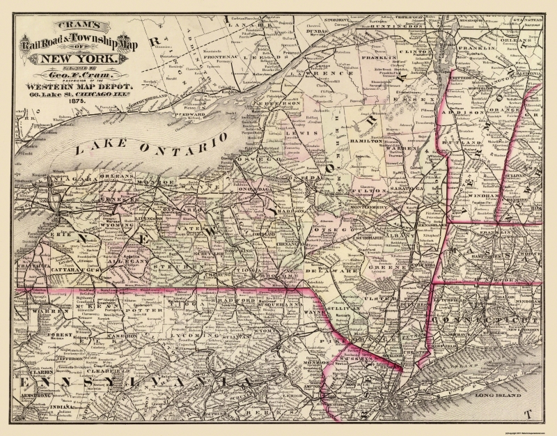 Old State Map - New York - Cram 1875 - 29.38 x 23 on mi road map, philadelphia road map, nj road map, us population map, wny road map, pittsburgh road map, charlotte road map, new york toll roads map, syracuse road map, manhattan road map, phoenix road map, houston road map, bronx road map, brooklyn road map, washington road map, adirondacks road map, ny road test, new york highway map, ny road atlas, london road map,