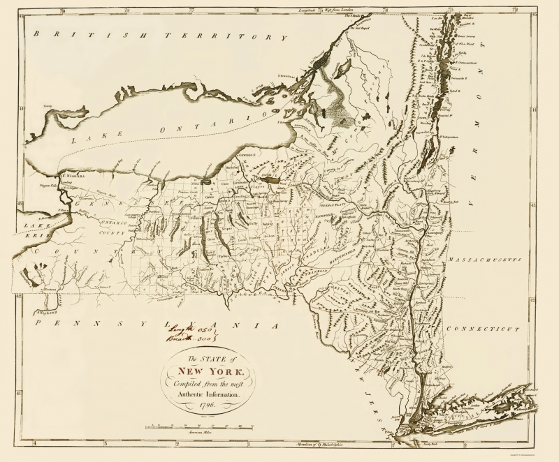 Old State Map - New York - 1796 - 23 x 27.79