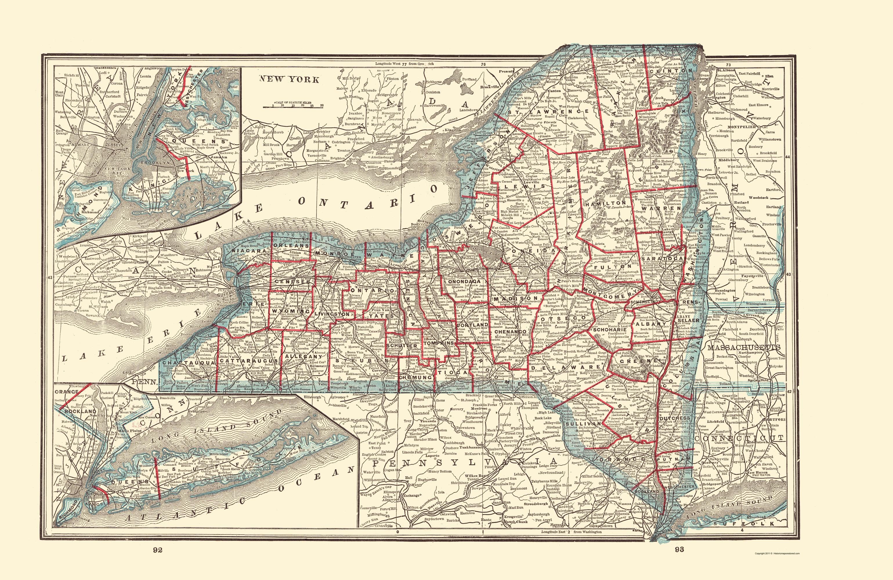 State Map New York.Old State Map New York Rathbun 1893
