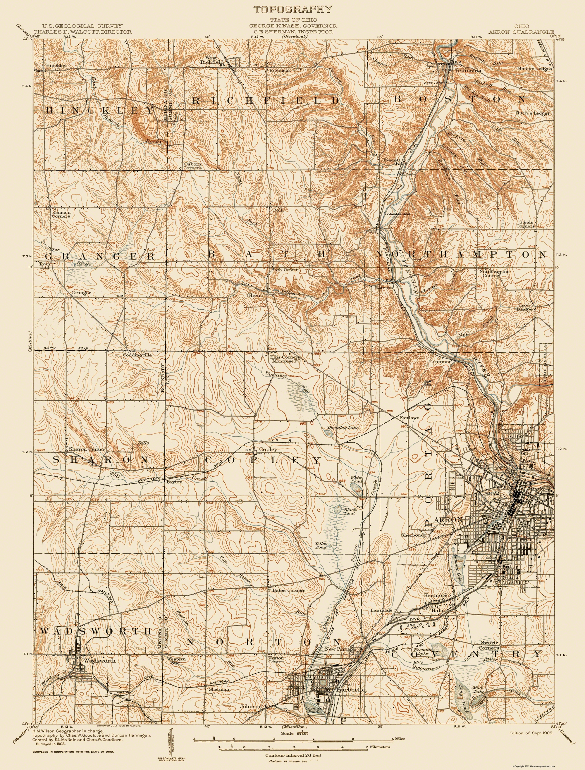 Old Topographical Map Akron Ohio 1905