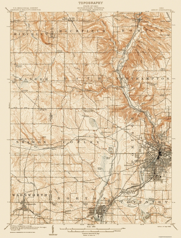 Topographical Map Print - Akron Ohio Quad - USGS 1905 - 17 x 22.38 on street map of fairlawn ohio, map of grand lake ohio, map of montrose ohio, map of berlin heights ohio, map of bratenahl ohio, map of sharon center ohio, map of frazeysburg ohio, map of walbridge ohio, map of copley ohio, map of cuyahoga river ohio, map of new holland ohio, map of california ohio, map of cincinnati ohio, map of new york ohio, map of alger ohio, map of franklin township ohio, map of black river ohio, map of nashville ohio, map of cuyahoga falls ohio, map of canton ohio,