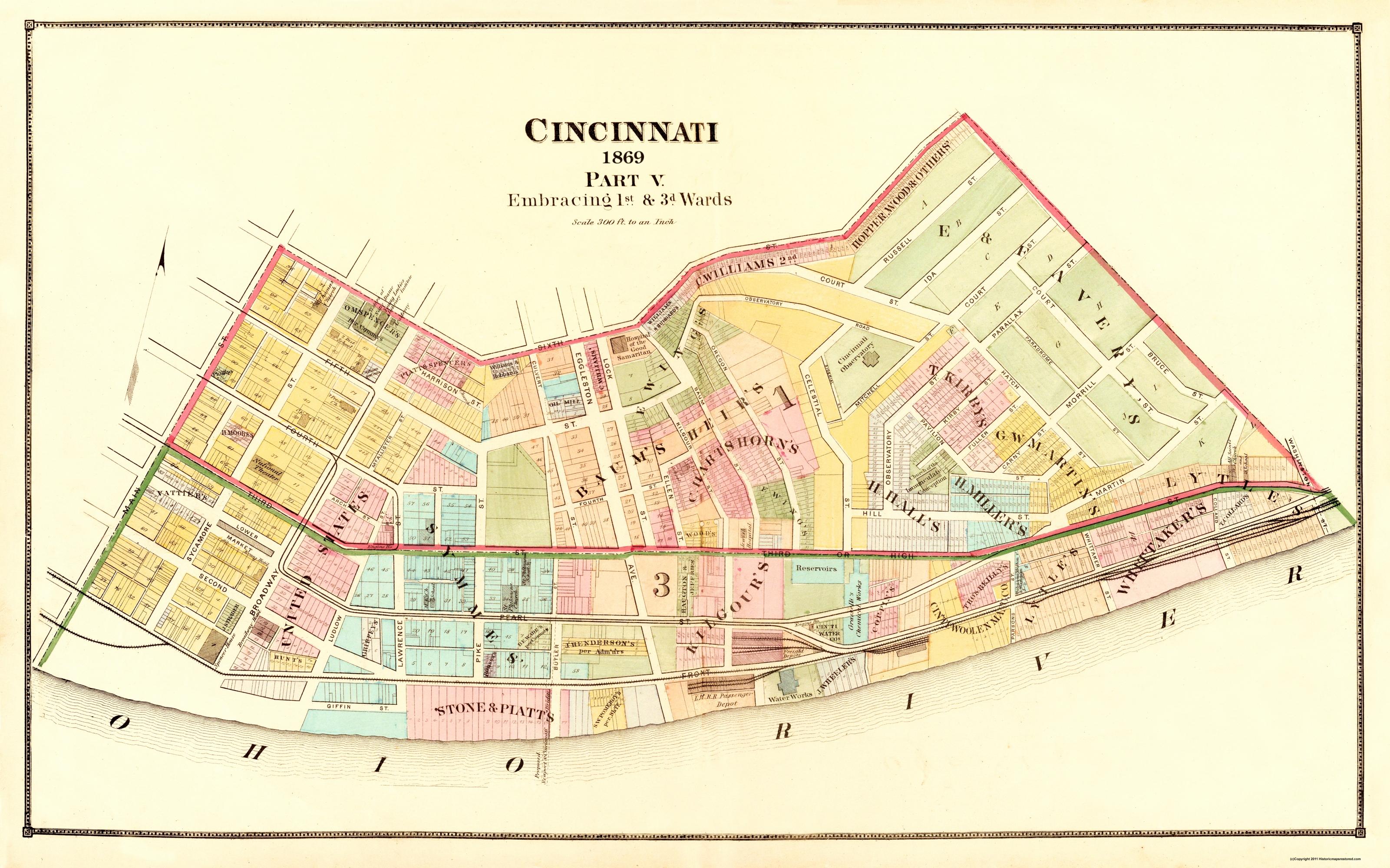 Old City Map - Cincinnati Ohio Landowner - 1869 Cincinnati S Map on