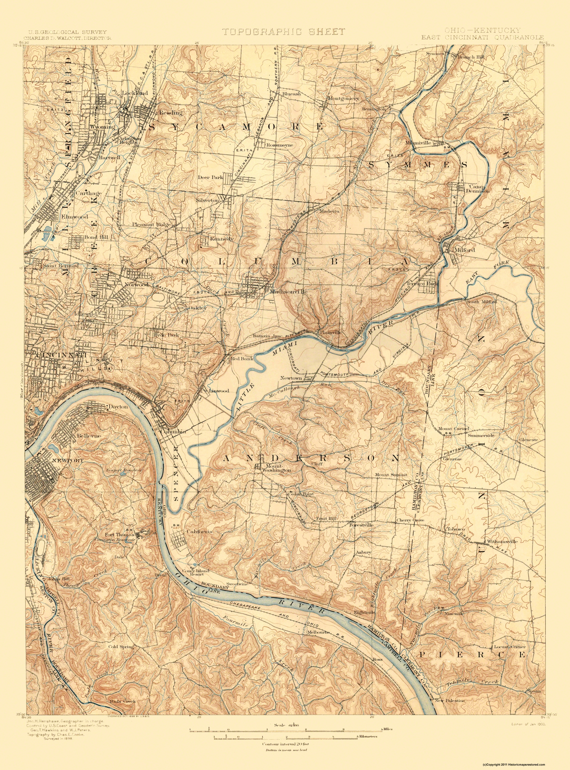 Topographical Map Cincinnati East Ohio Kentucky 1900
