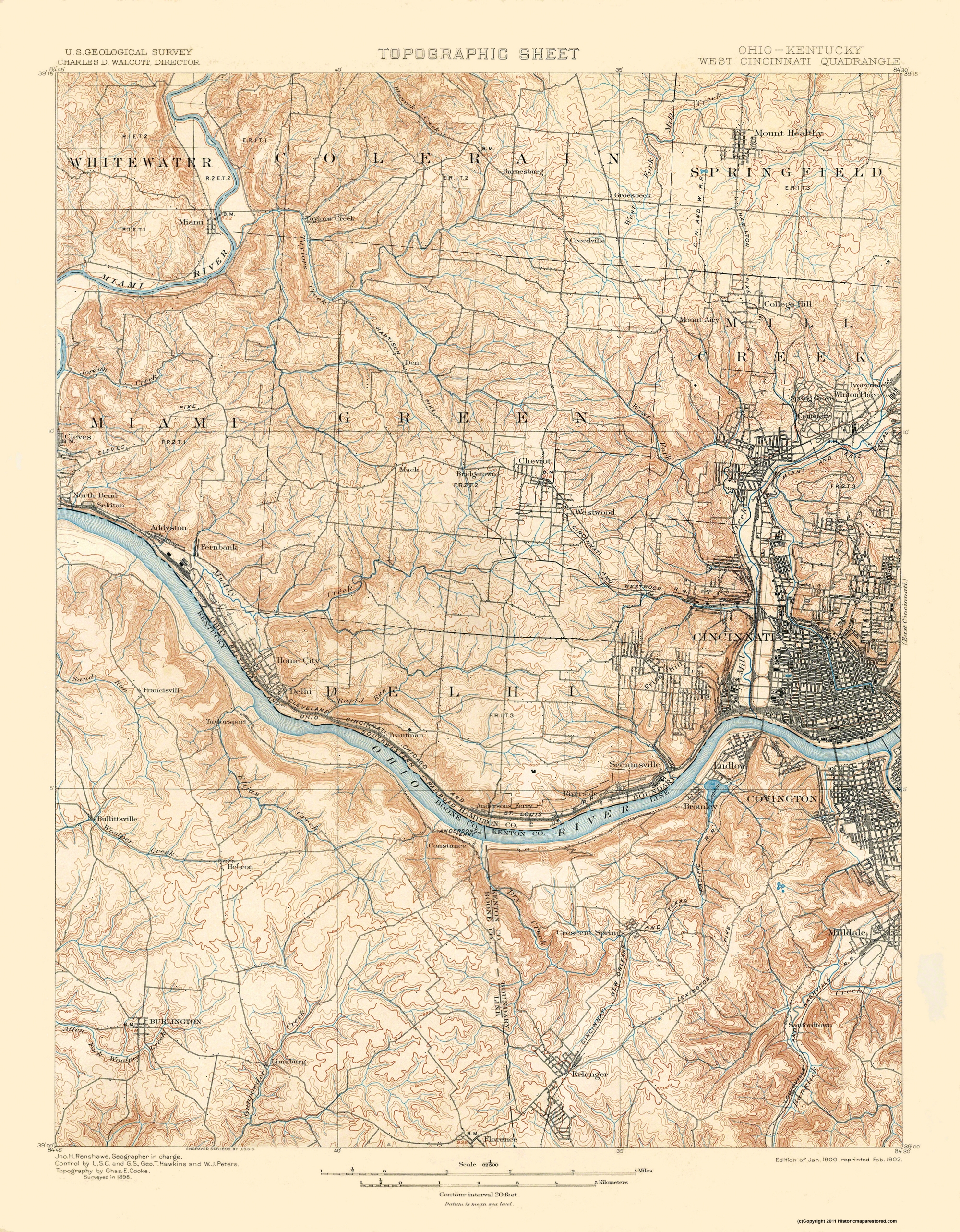 Topographical Map Cincinnati West Ohio Kentucky 1900