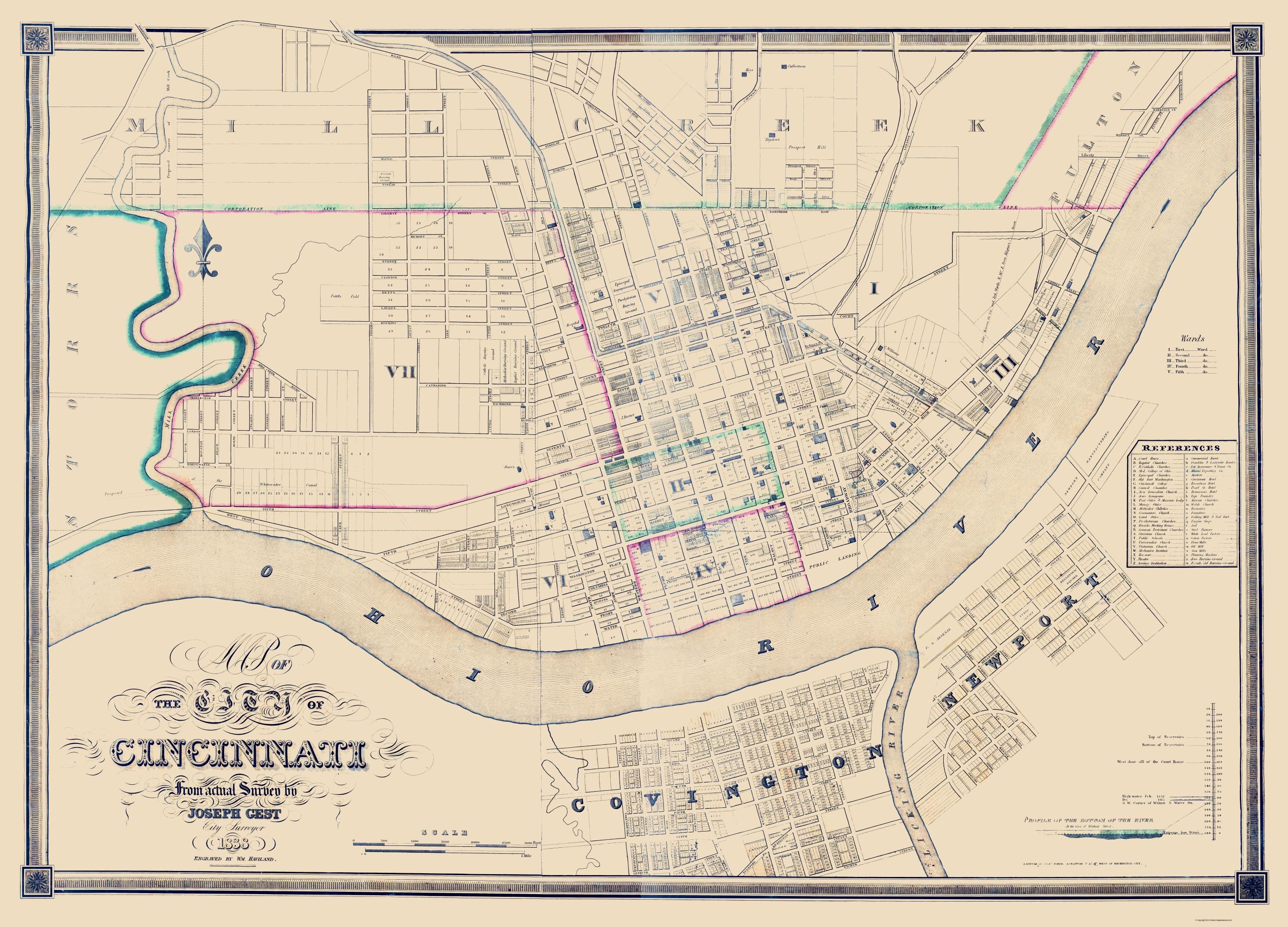 Old City Map   Cincinatti Ohio   Haviland 1838