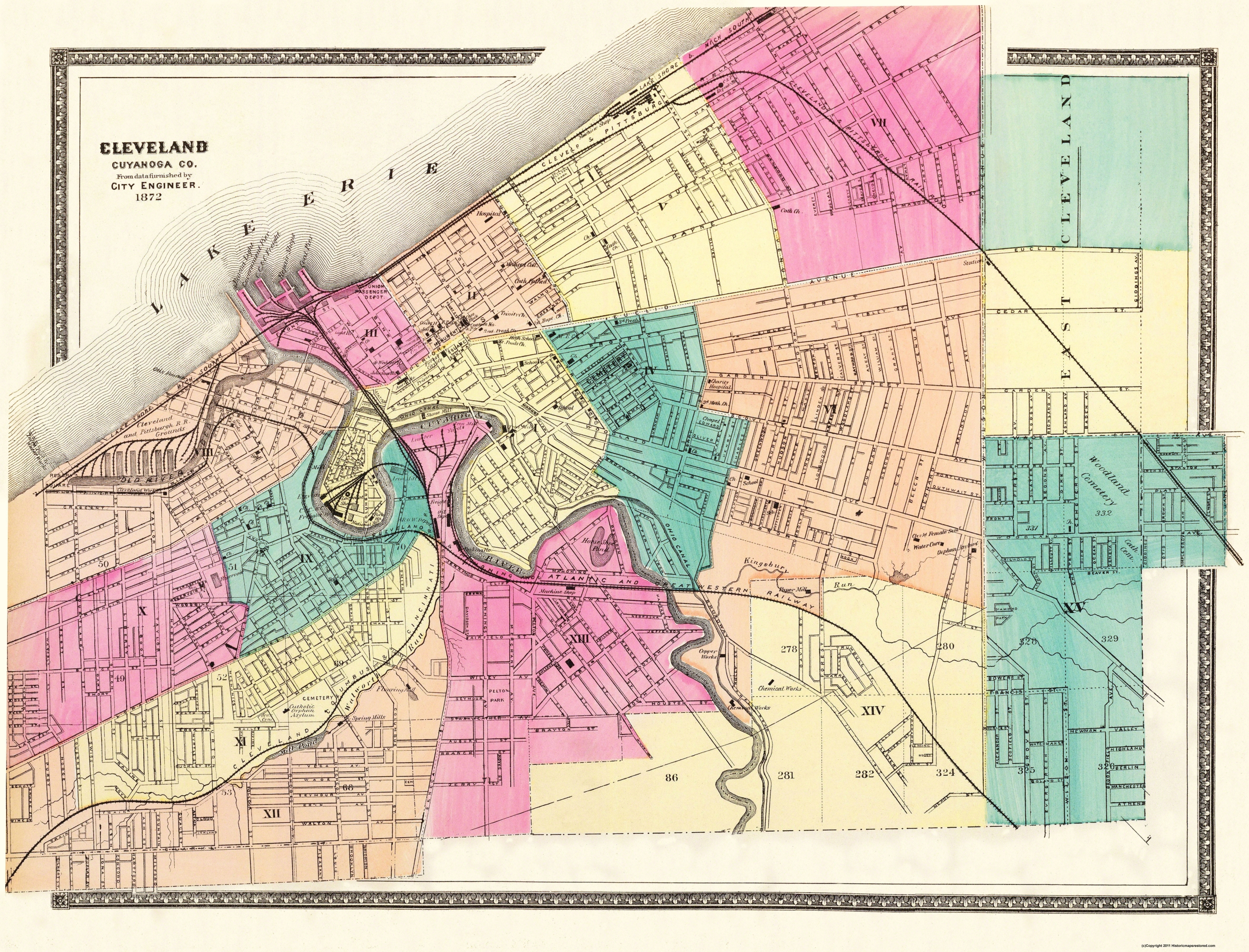 Old City Map Cleveland Ohio 1872