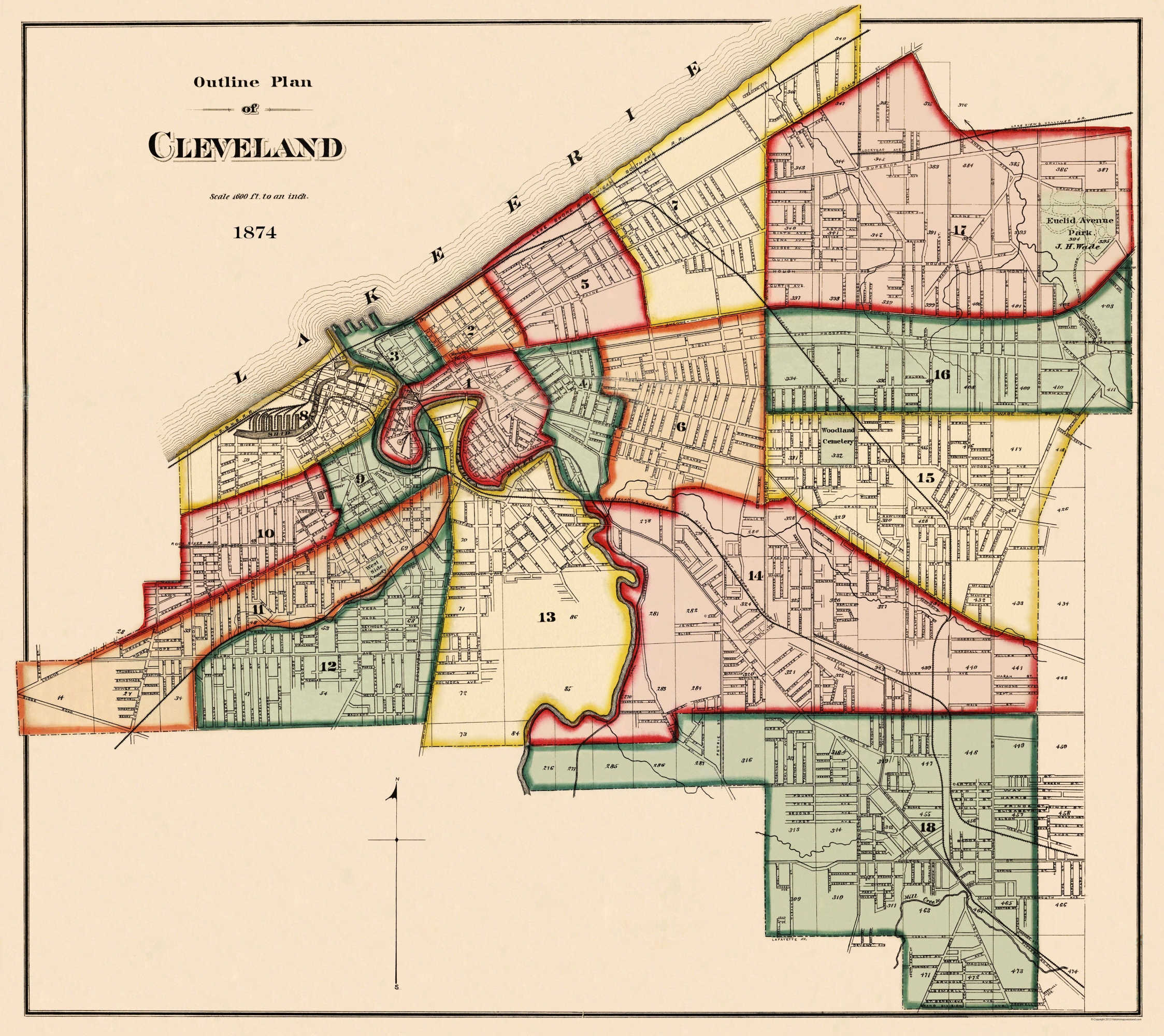 Old City Map - Cleveland Ohio Index - 1874 Cleveland Ohio Map on