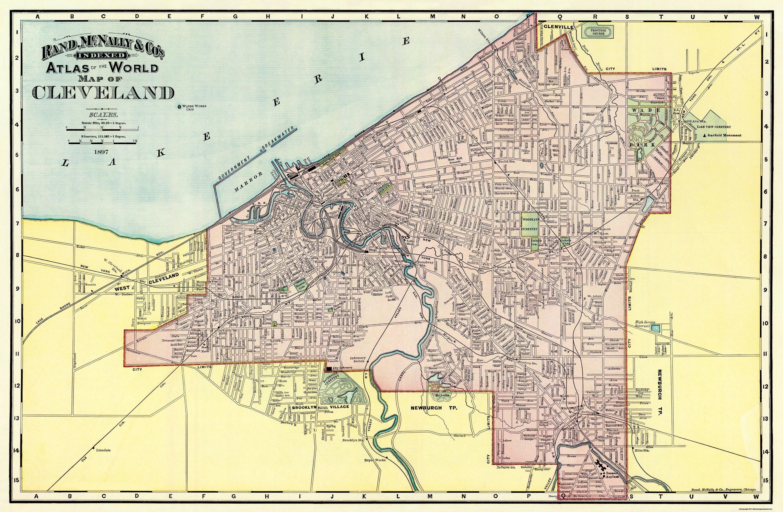 Old City Map Cleveland Ohio Rand McNally - Cleveland ohio on us map