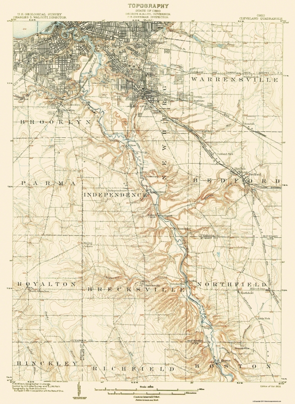 topographic map cleveland ohio Old Topographical Map Cleveland Ohio 1903