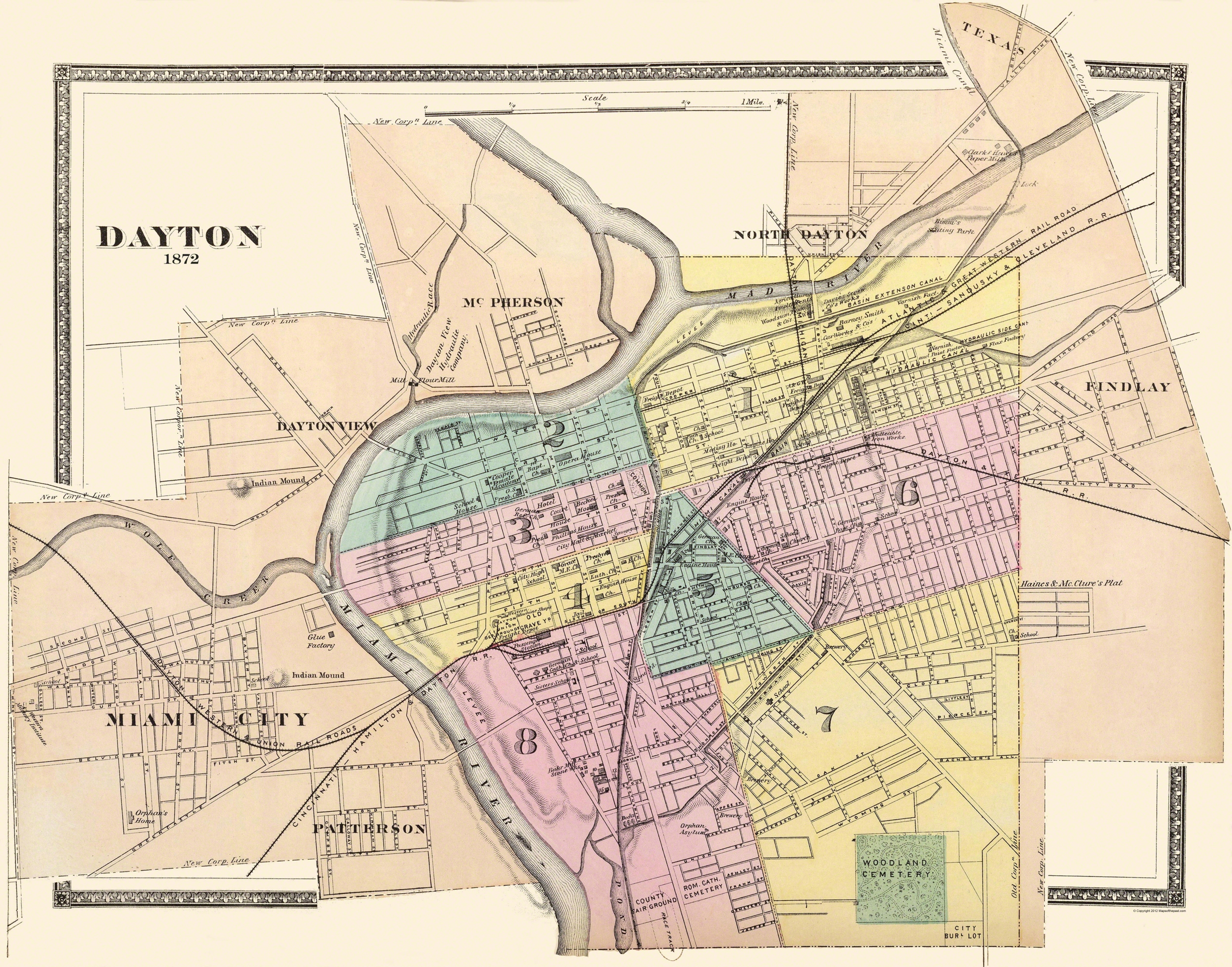 Old City Map   Dayton Ohio   1876