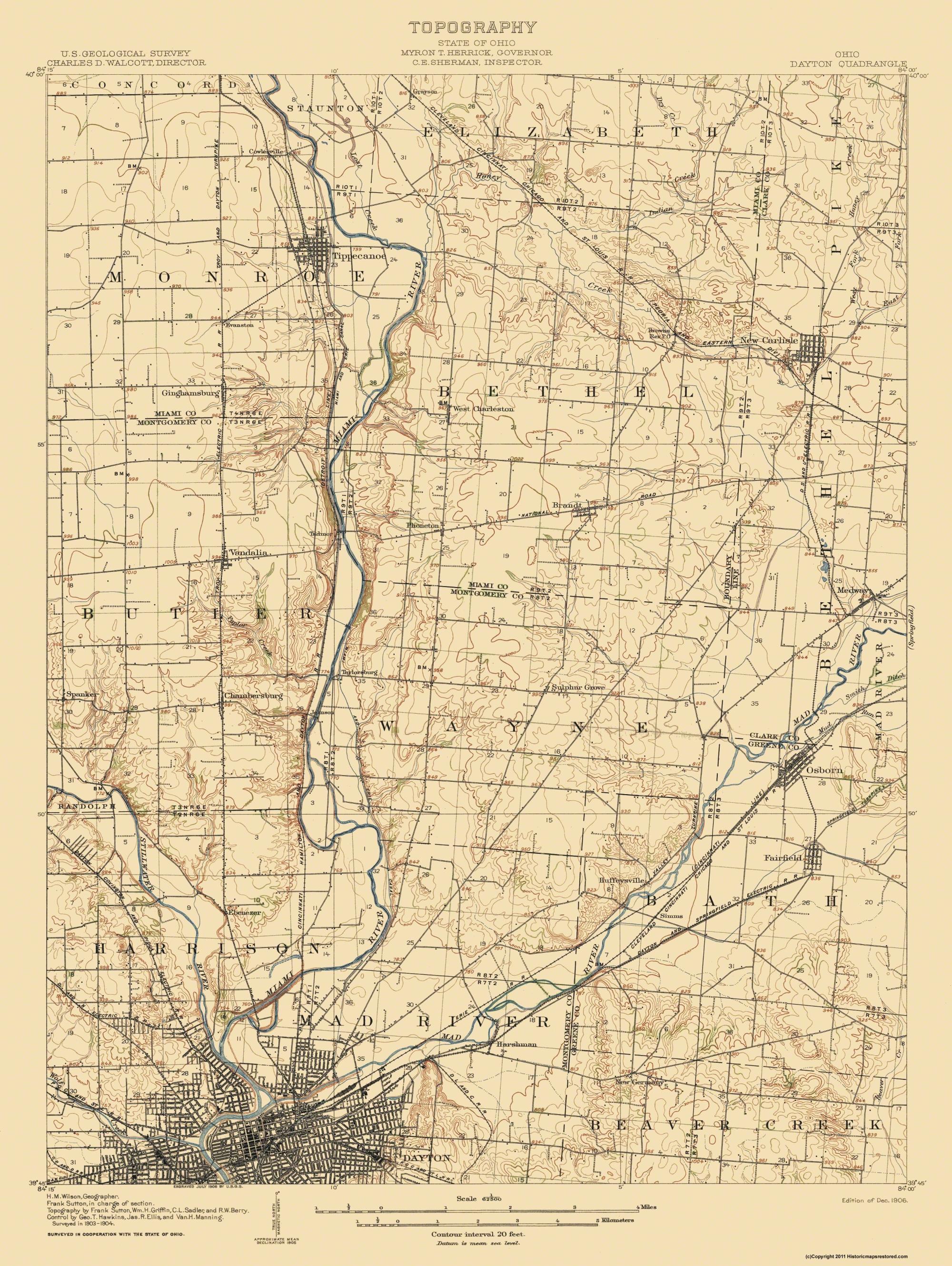 Old Topographical Map Dayton Ohio 1906