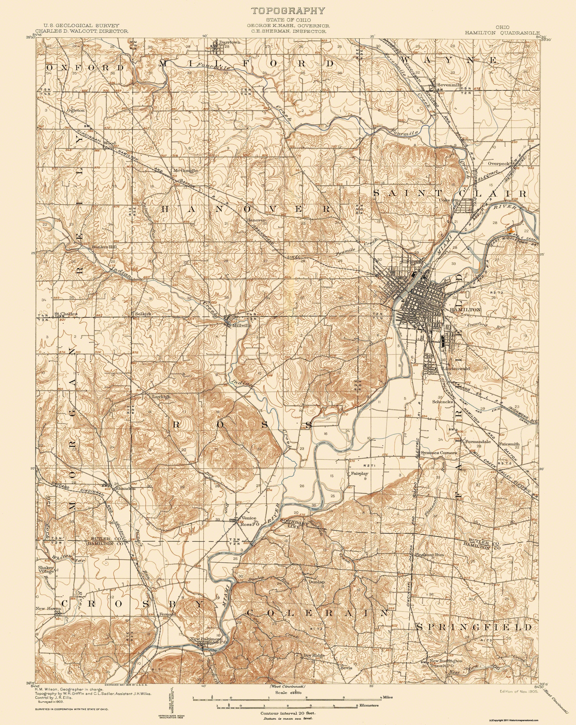 Old Topographical Map Hamilton Ohio 1905